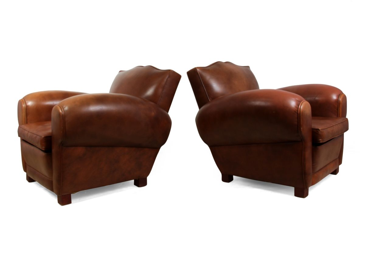 French Leather Club Chairs 1950s Set Of 2 For Sale At Pamono
