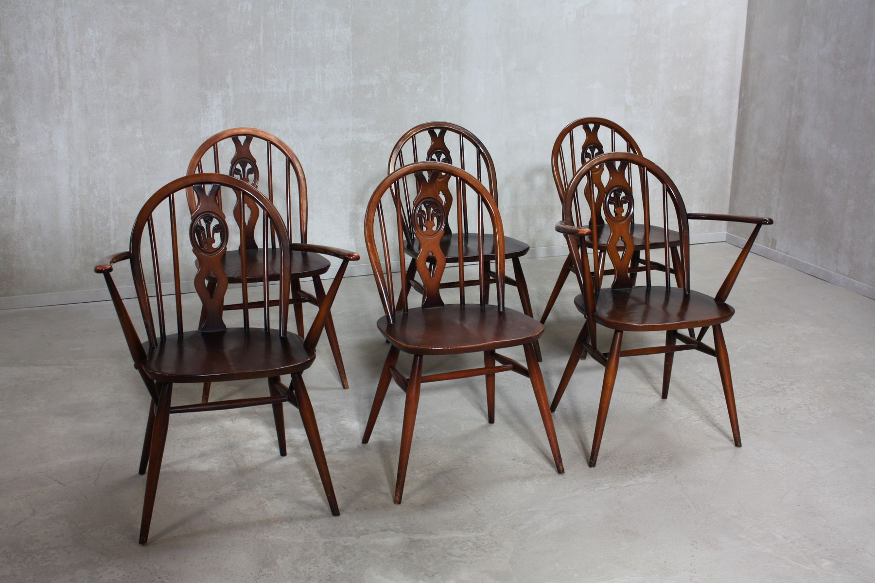 371 U0026 371A Windsor Dining Chairs By Lucian Ercolani For Ercol, 1960s, Set  Of 6