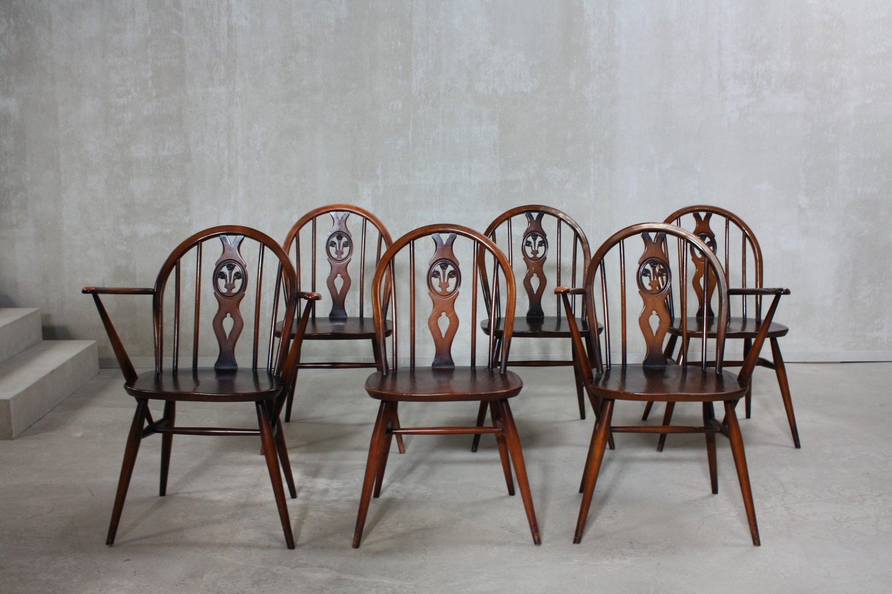 a windsor dining chairs by lucian ercolani for ercol s setof .   a windsor dining chairs by lucian ercolani for ercol