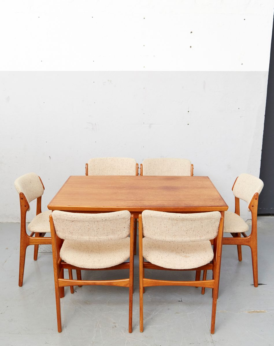 d nisches mid century teak esszimmer set von erik buch f r oddense maskinsnedkeri o d m bler. Black Bedroom Furniture Sets. Home Design Ideas