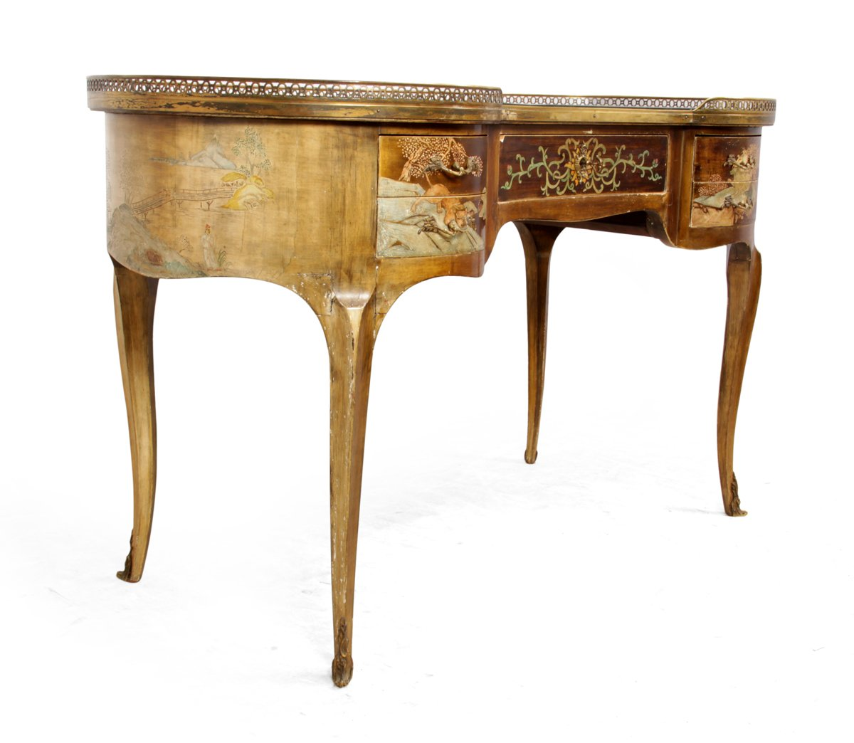 Antique french chinoiserie kidney writing desk 1860s for for Kidney desk for sale