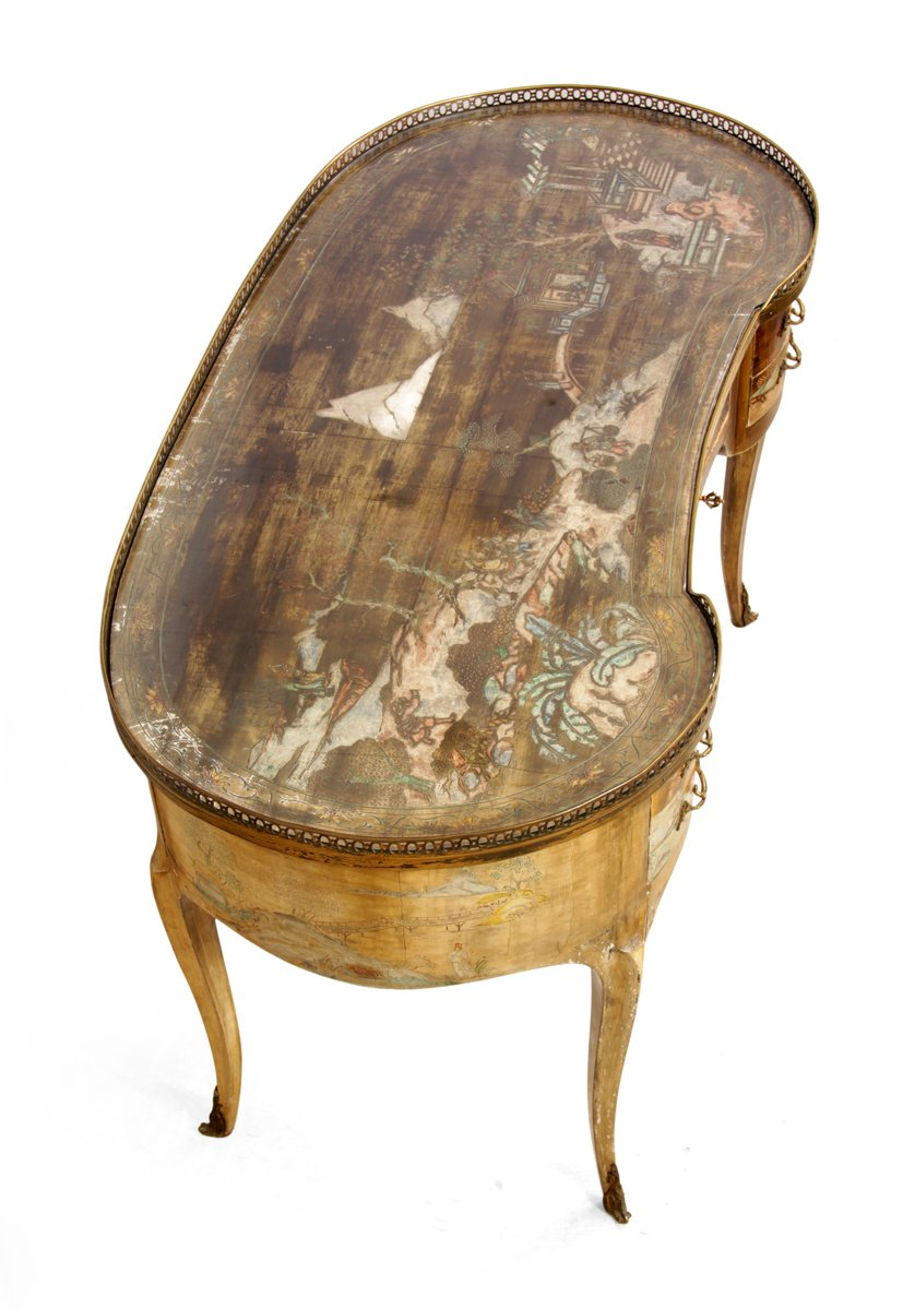 Antique French Chinoiserie Kidney Writing Desk 1860s For