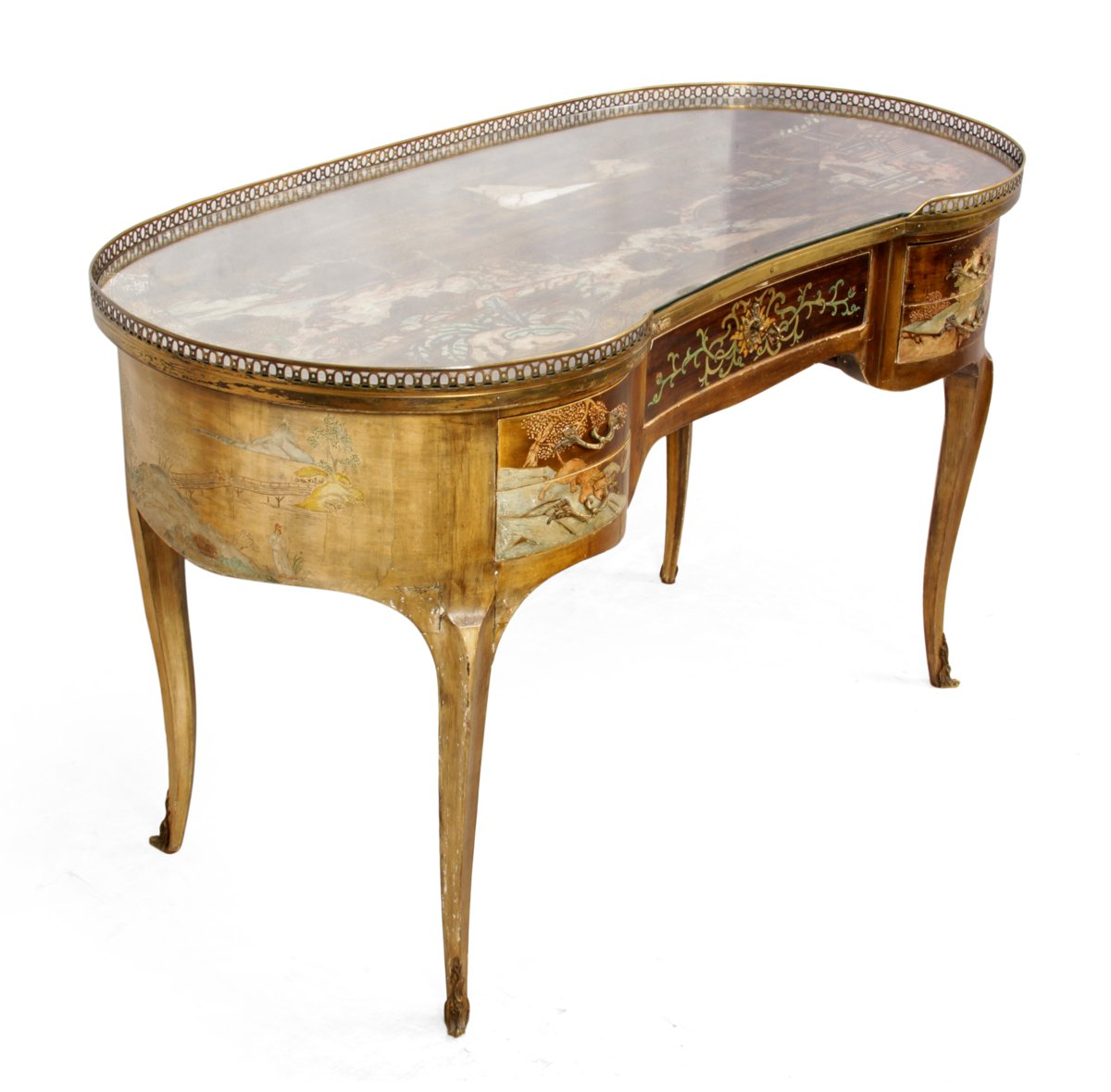 Antique French Chinoiserie Kidney Writing Desk, 1860s for sale at Pamono - Antique French Chinoiserie Kidney Writing Desk, 1860s For Sale At
