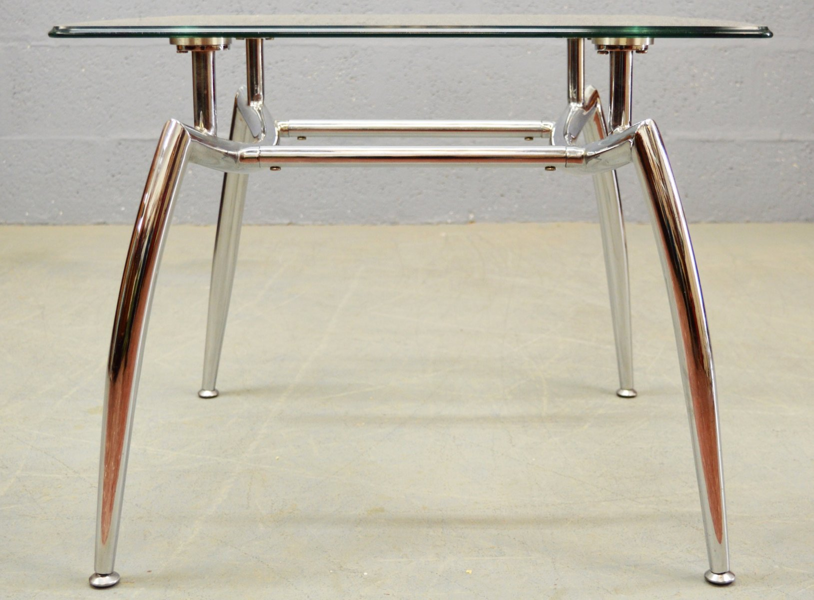 Glass & Chrome Coffee Table 1980s for sale at Pamono