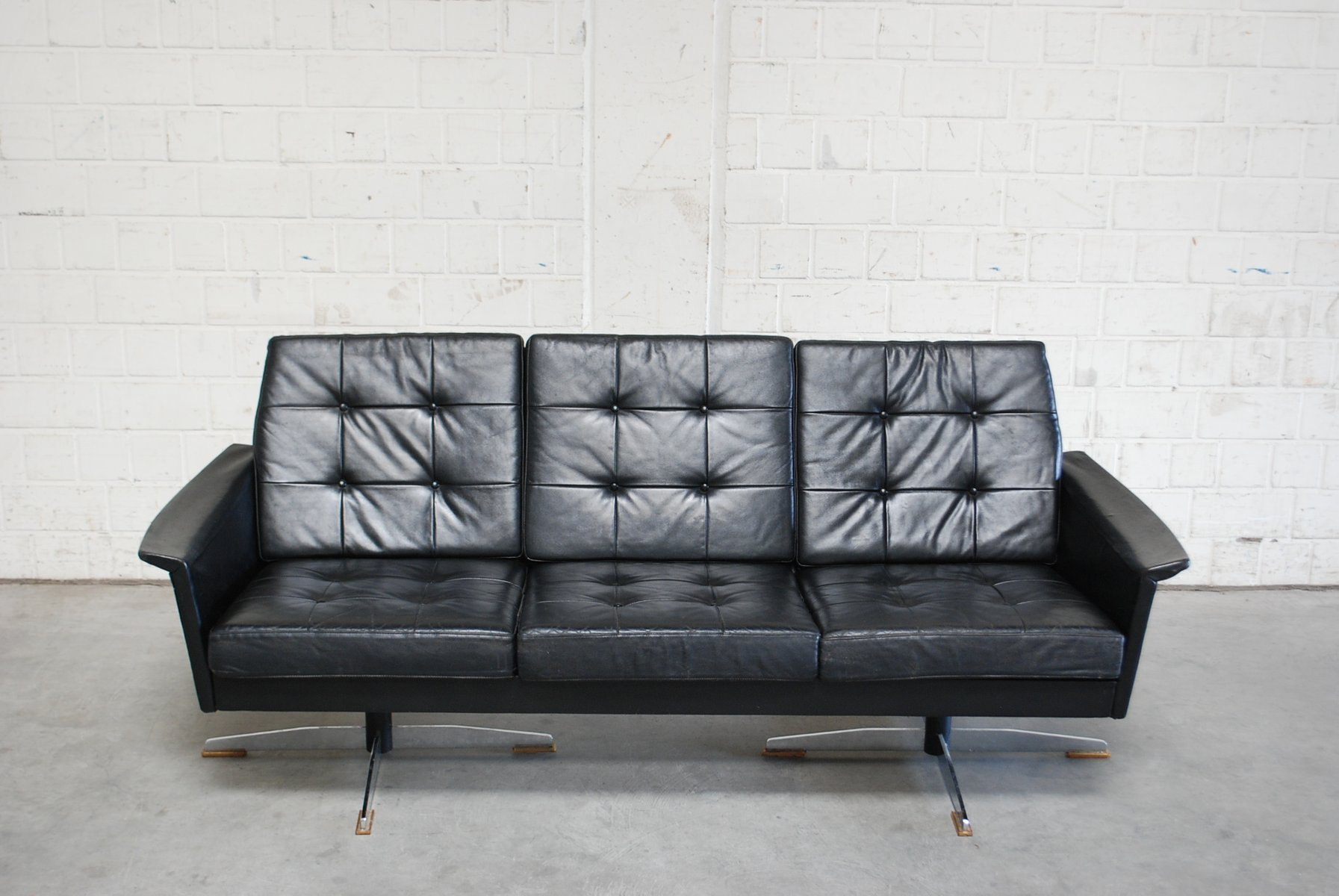 Vintage Black Leather Sofa 1960s For Sale At Pamono