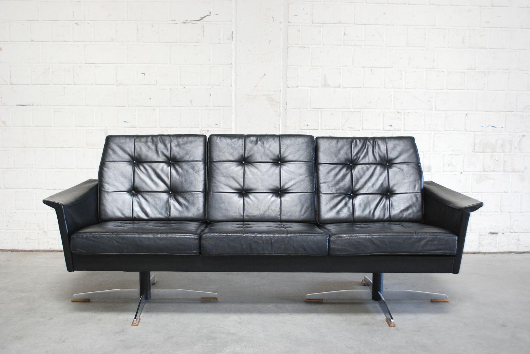 Vintage Black Leather Sofa, 1960s