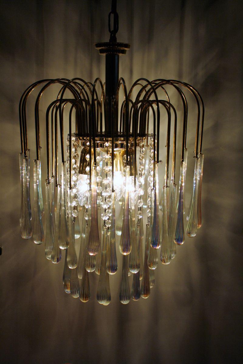Vintage Crystal Murano Glass Teardrop Chandelier 1960s