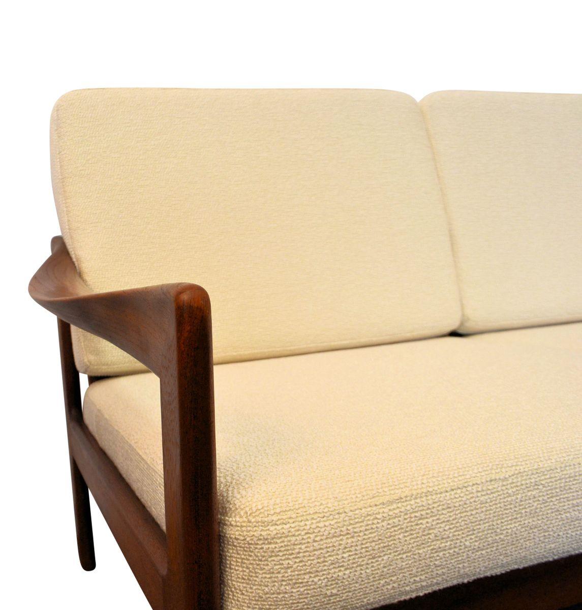 Vintage danish teak 3 seater sofa by illum wikkelso for for Sofa 60er gebraucht