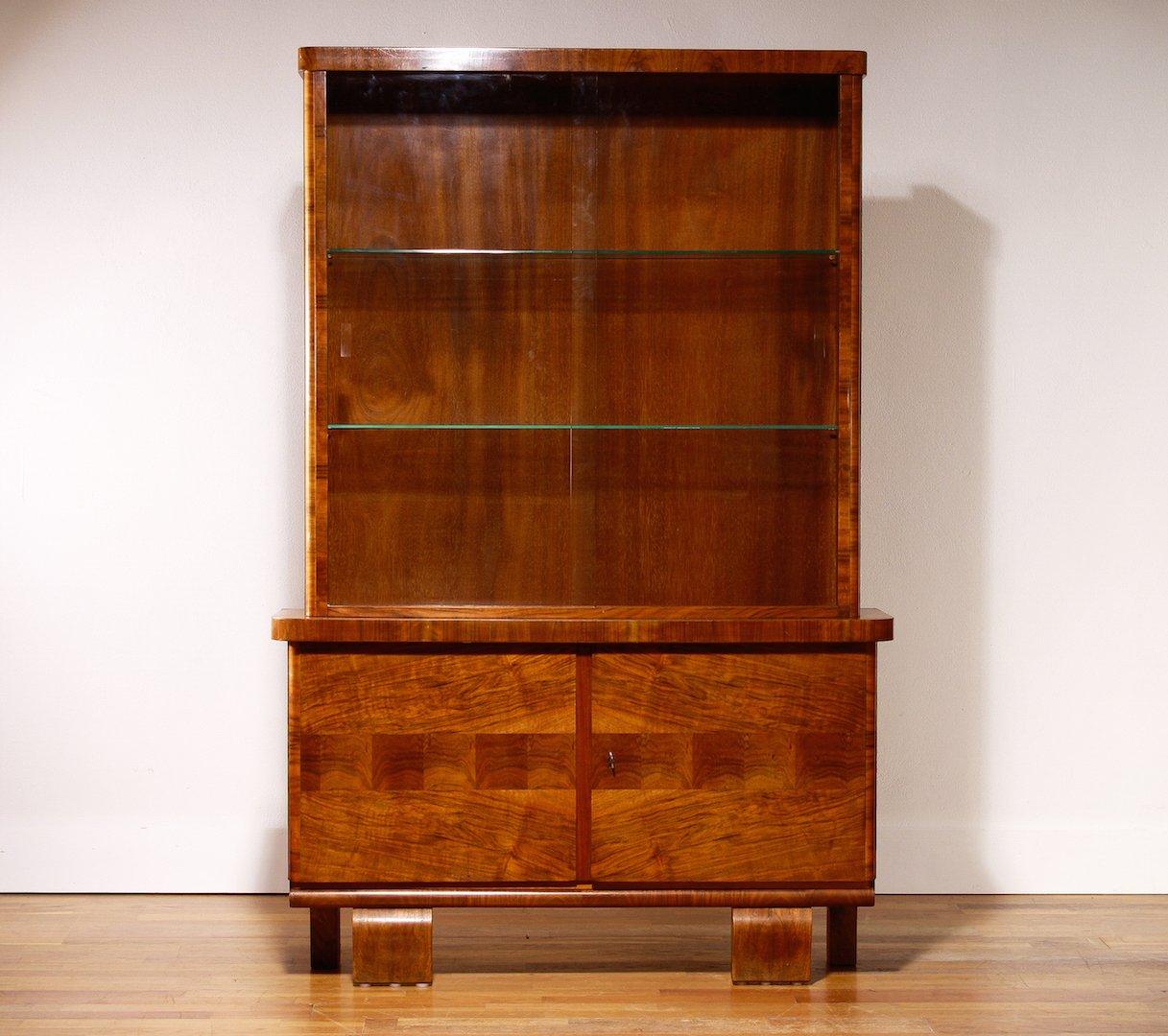 Vintage Art Deco Walnut Veneer Display Cabinet for sale at Pamono