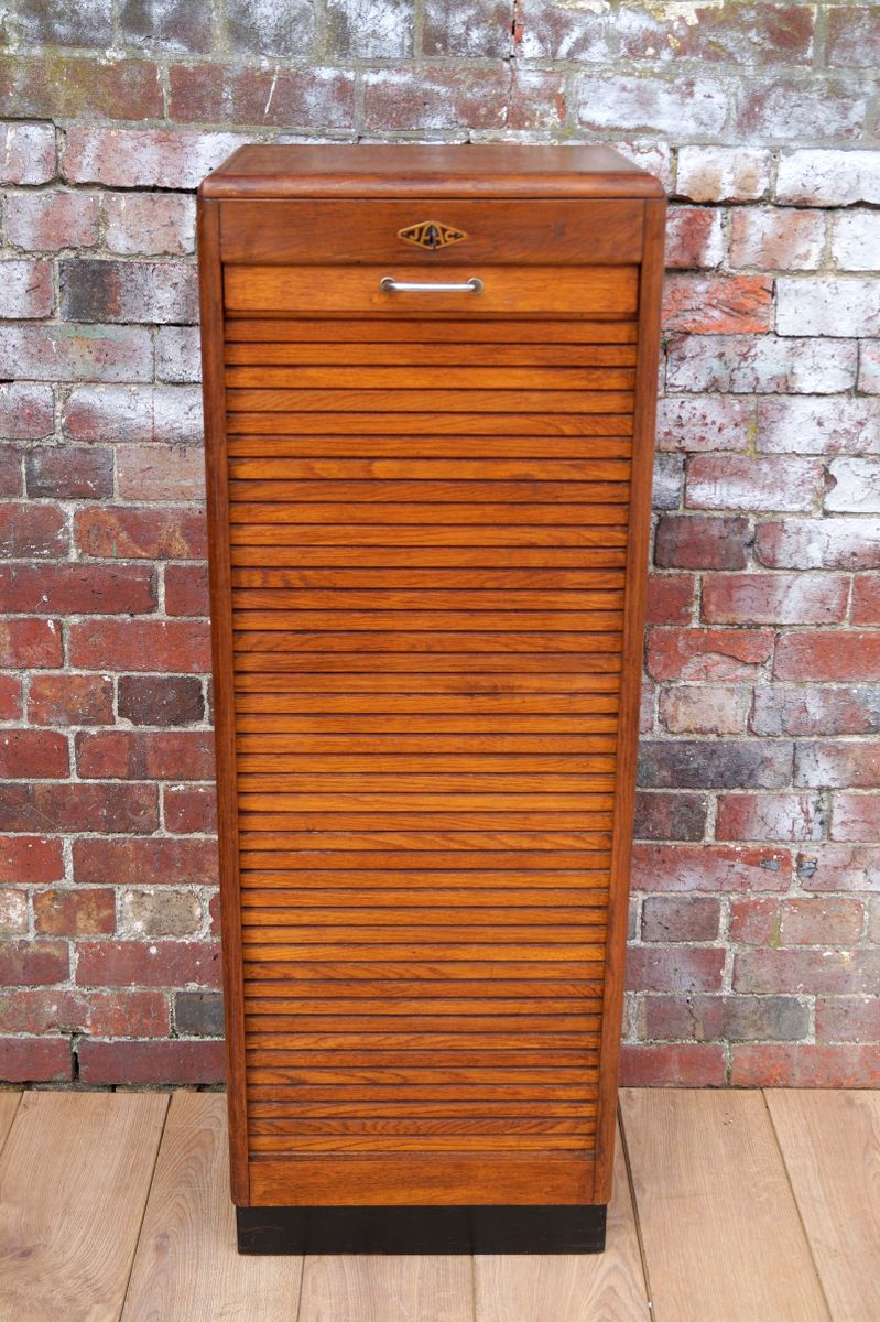 Vintage French Tambour Door Cabinet For Sale At Pamono