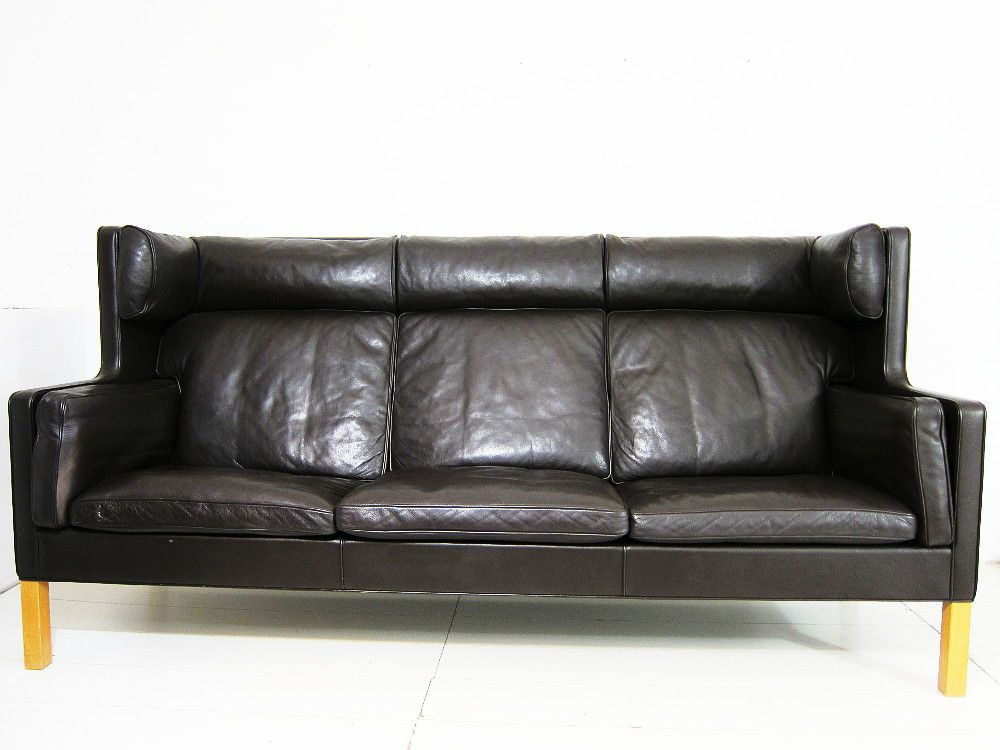 2193 dark brown leather sofa by brge mogensen for fredericia 1970s