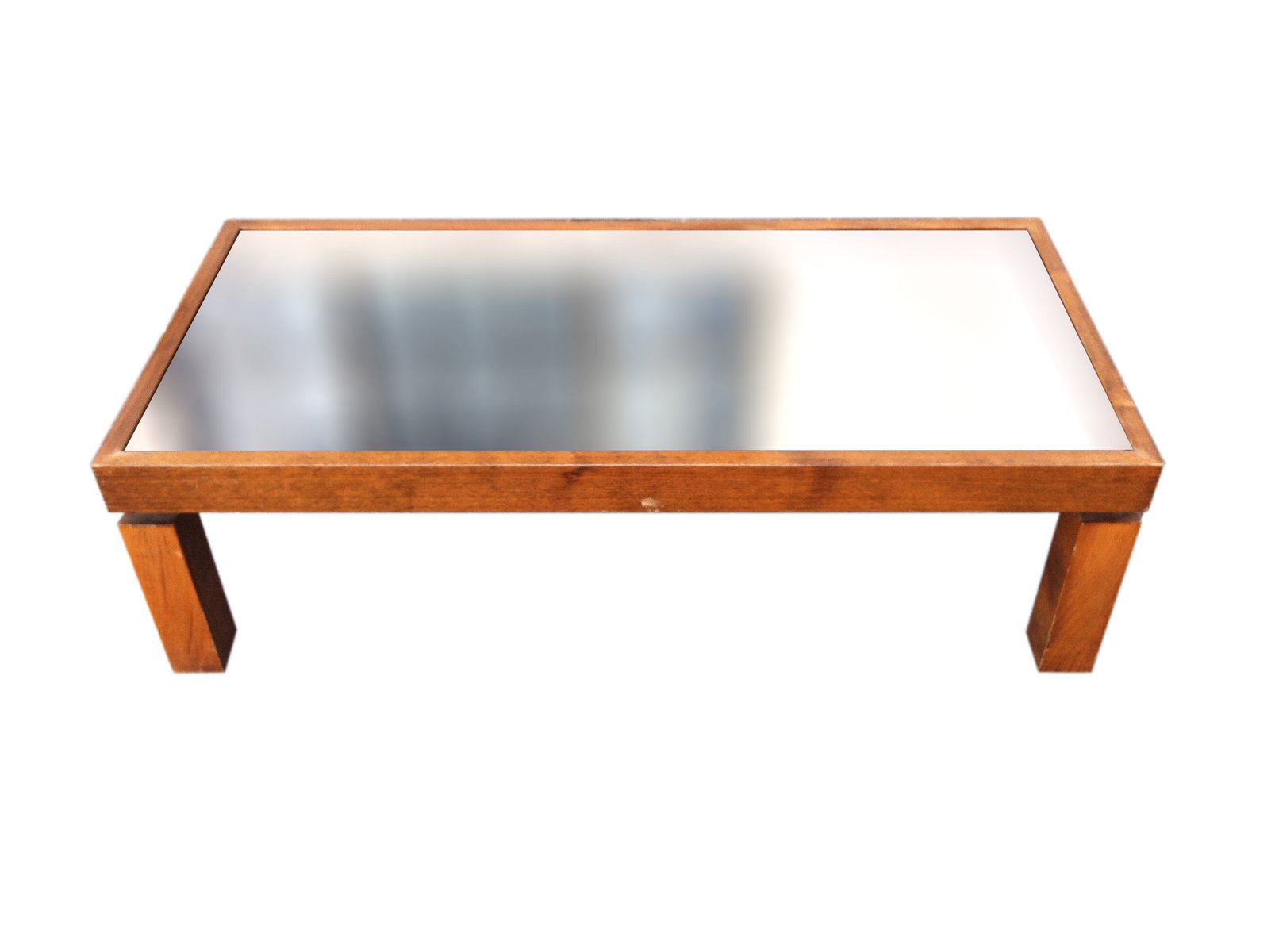 Vintage Coffee Wood Table with Black Mirrored Top for sale at Pamono