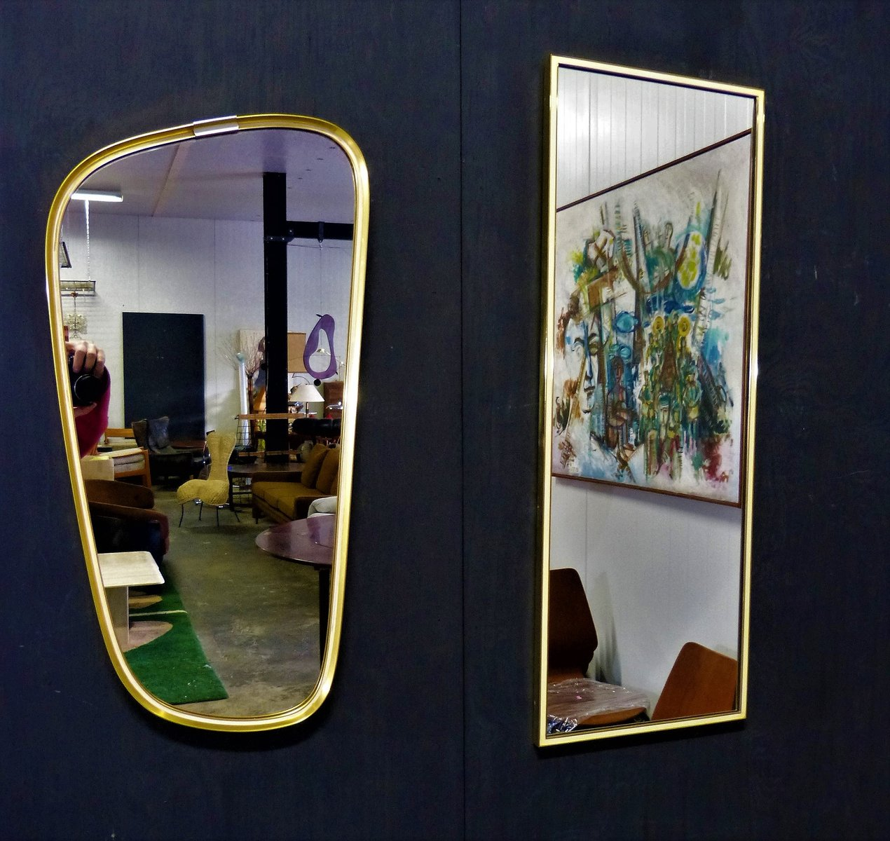 mid century spiegel mit messingrahmen von vereinigte werkstatten m nchen bei pamono kaufen. Black Bedroom Furniture Sets. Home Design Ideas
