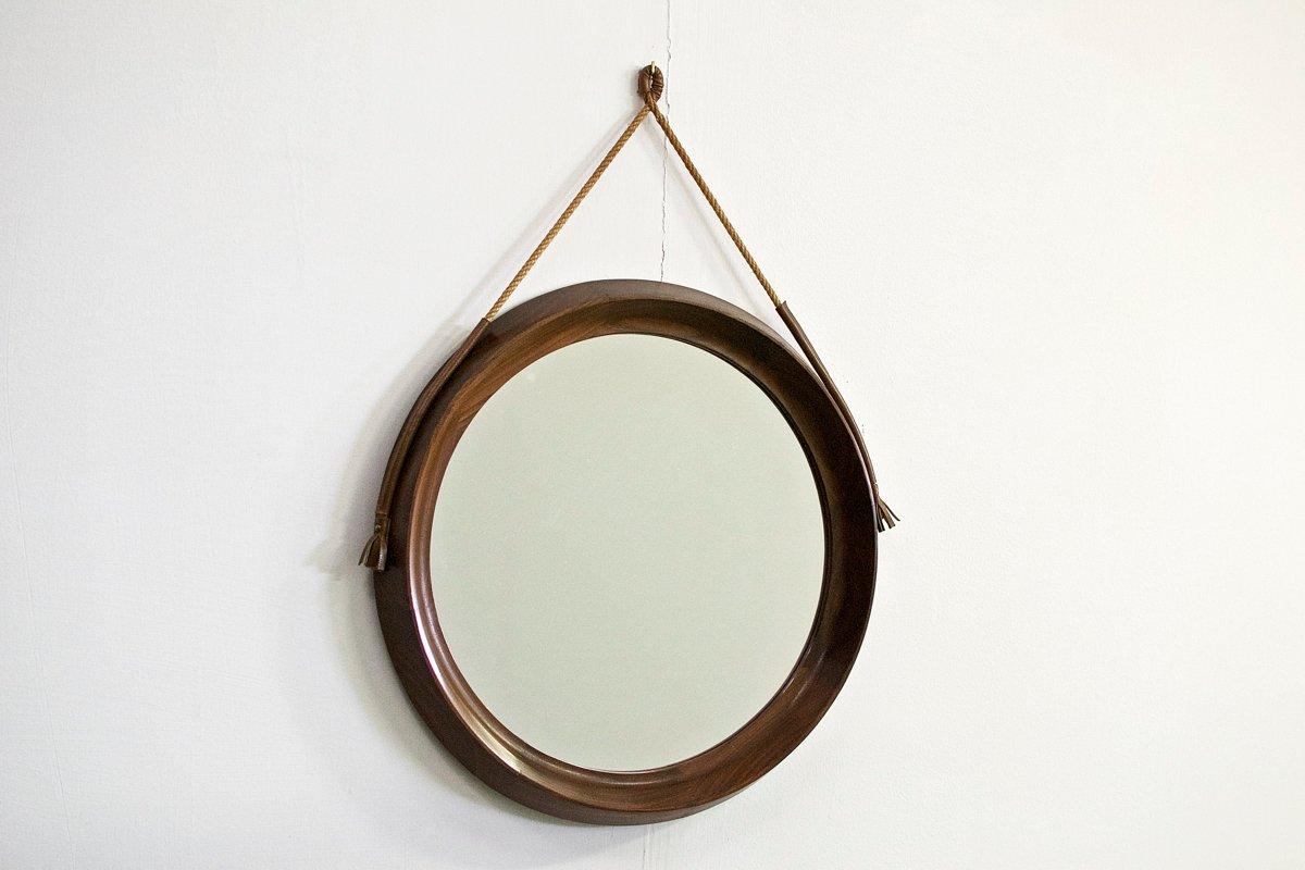 italienischer spiegel mit holzrahmen 1960er bei pamono kaufen. Black Bedroom Furniture Sets. Home Design Ideas