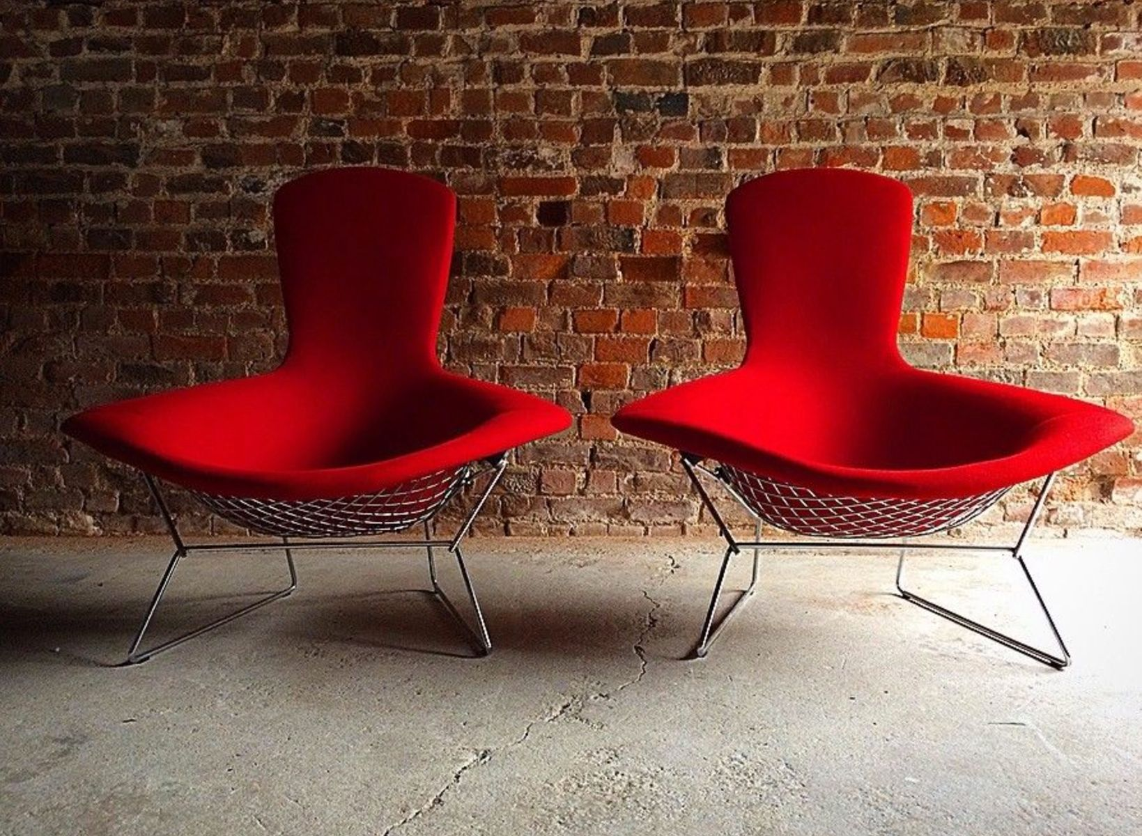 Vintage High Back Diamond Bird Chairs by Harry Bertoia for Knoll ...