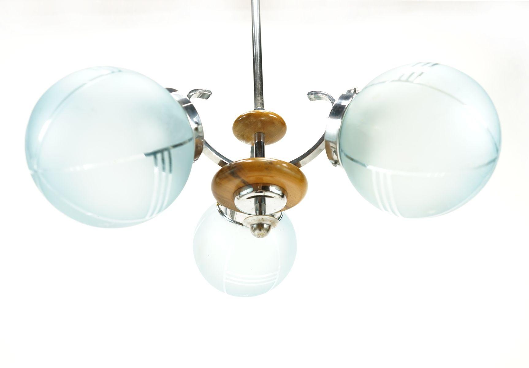 art deco deckenlampe aus blauem glas bei pamono kaufen. Black Bedroom Furniture Sets. Home Design Ideas