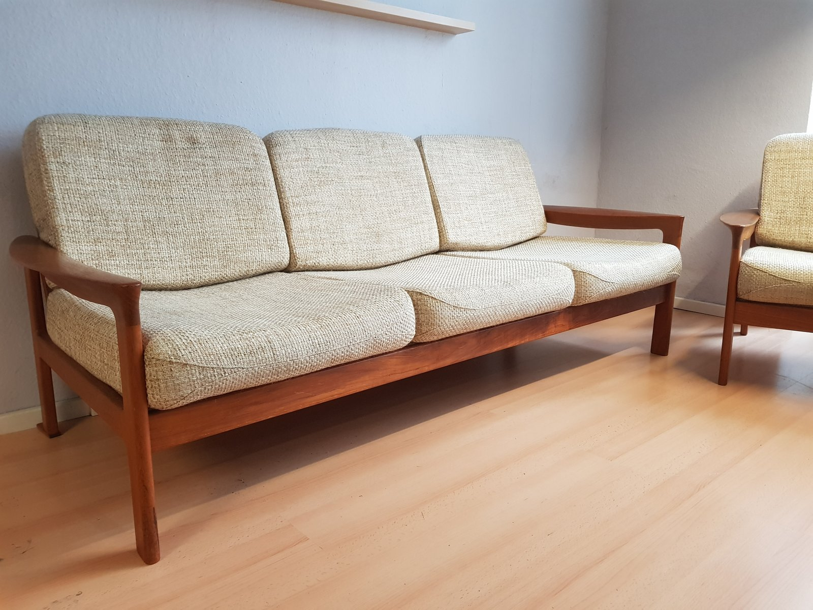 Danish teak 3 seater sofa by sven ellekaer for komfort for Sofa 3 sitzer