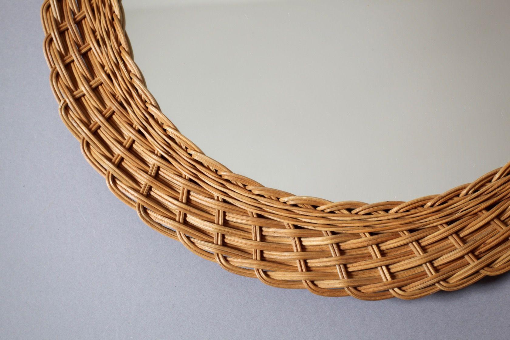 vintage wandspiegel mit rattan rahmen bei pamono kaufen. Black Bedroom Furniture Sets. Home Design Ideas