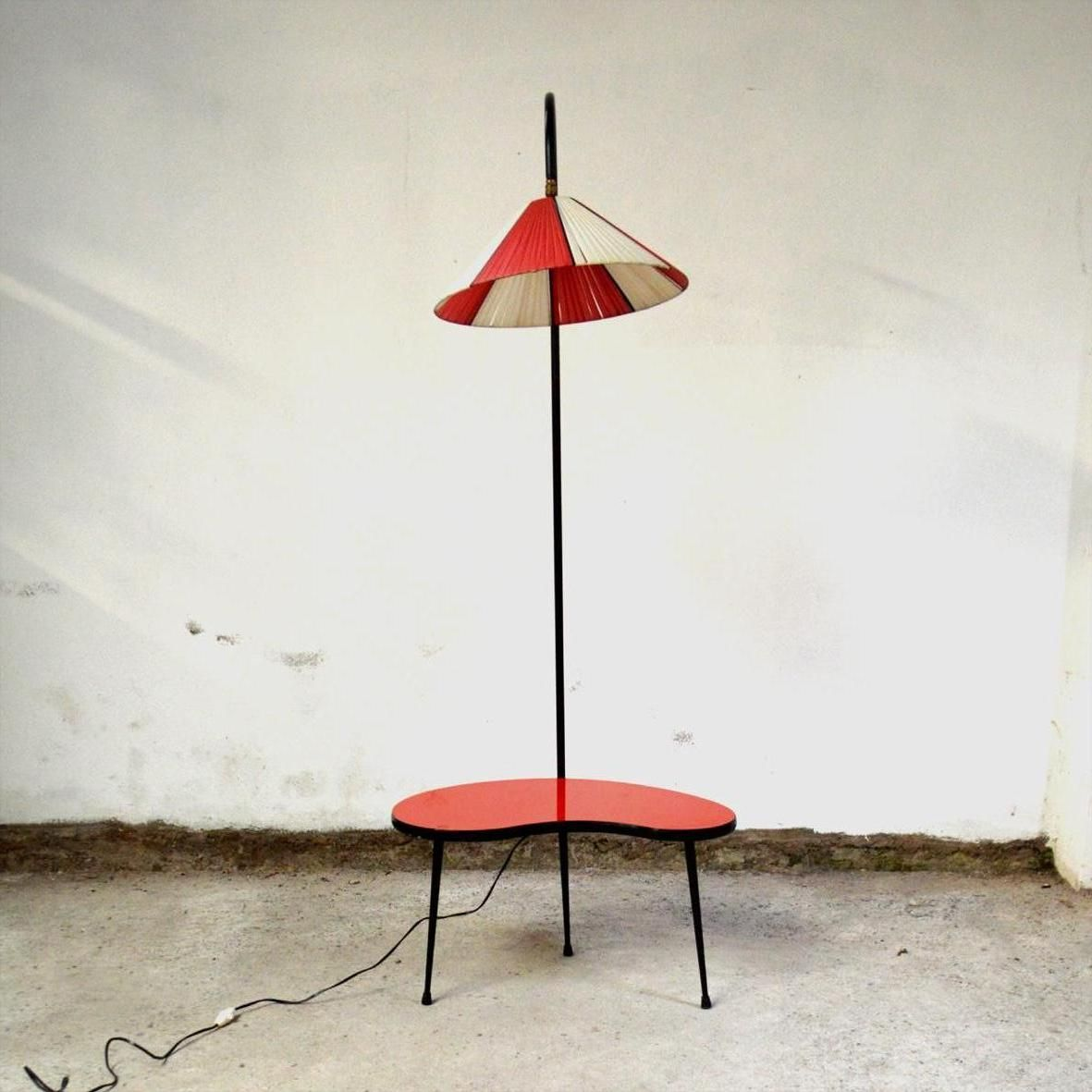 Mid Century Tripod Floor Lamp With Table For Sale At Pamono