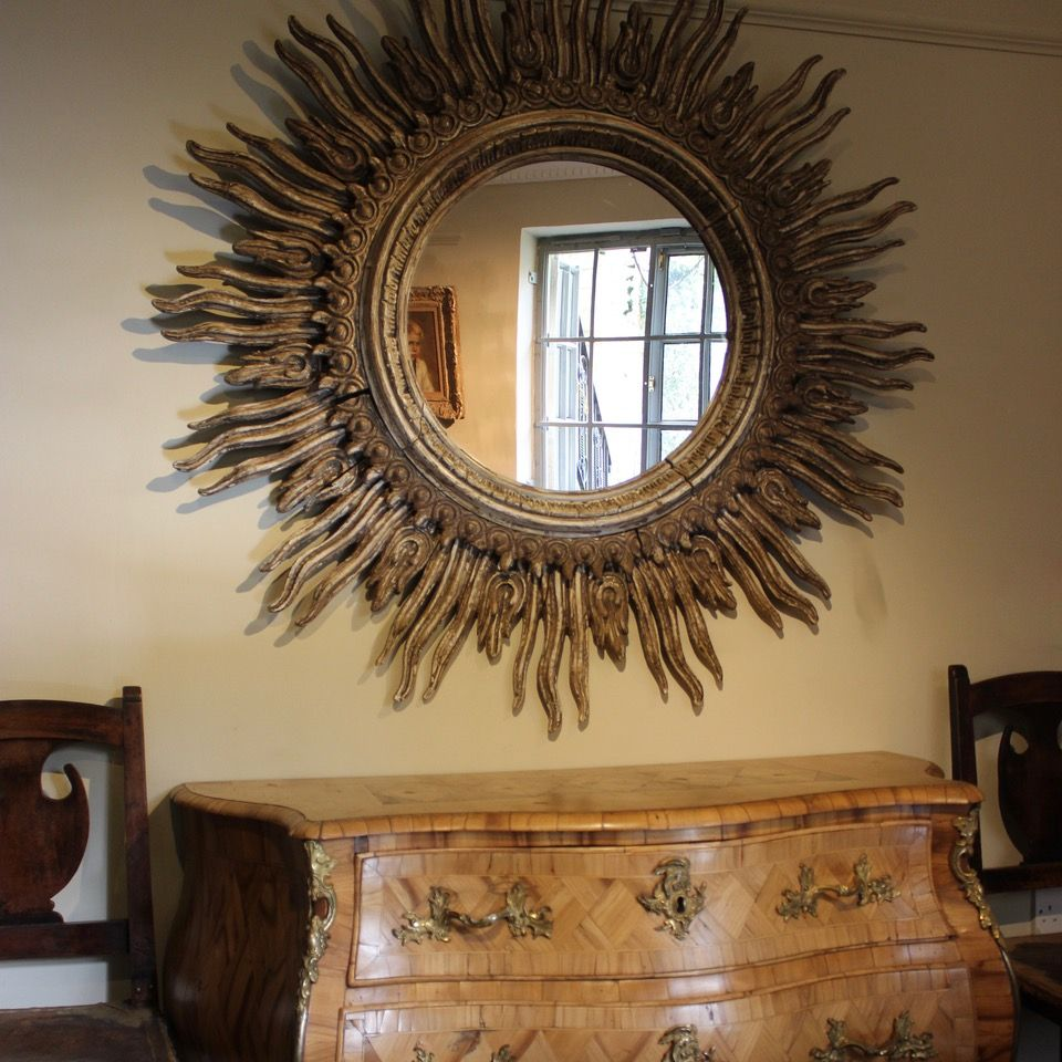 Large spanish starburst wooden mirror 1940s for sale at Large wooden mirrors for sale