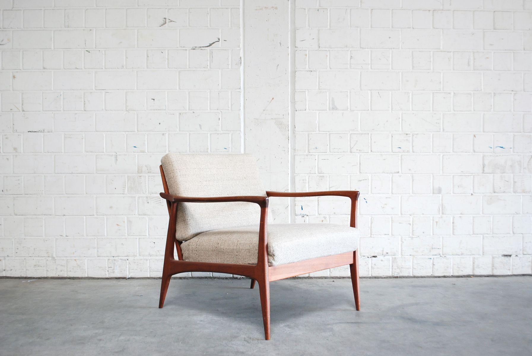 Danish modern sessel aus naturwolle teak 1960er bei for Danish design sessel