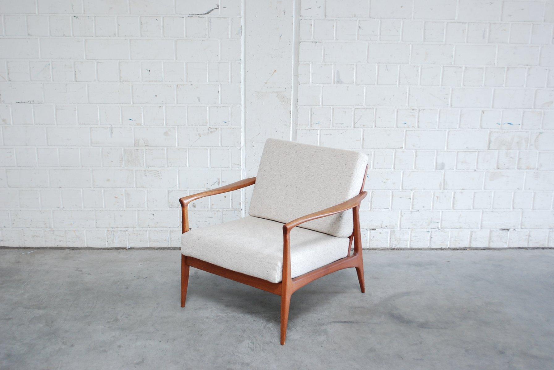 danish modern sessel aus wei er wolle teak 1960er bei. Black Bedroom Furniture Sets. Home Design Ideas