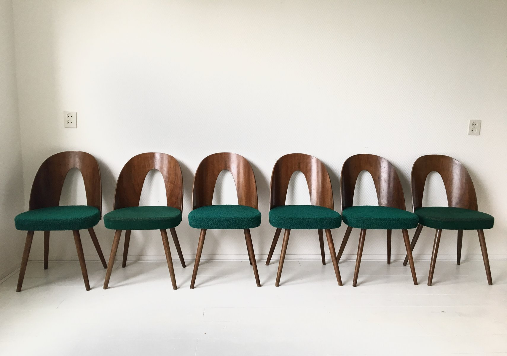Green Dining Room Chairs by Antonin Suman for Tatra 1960s Set of