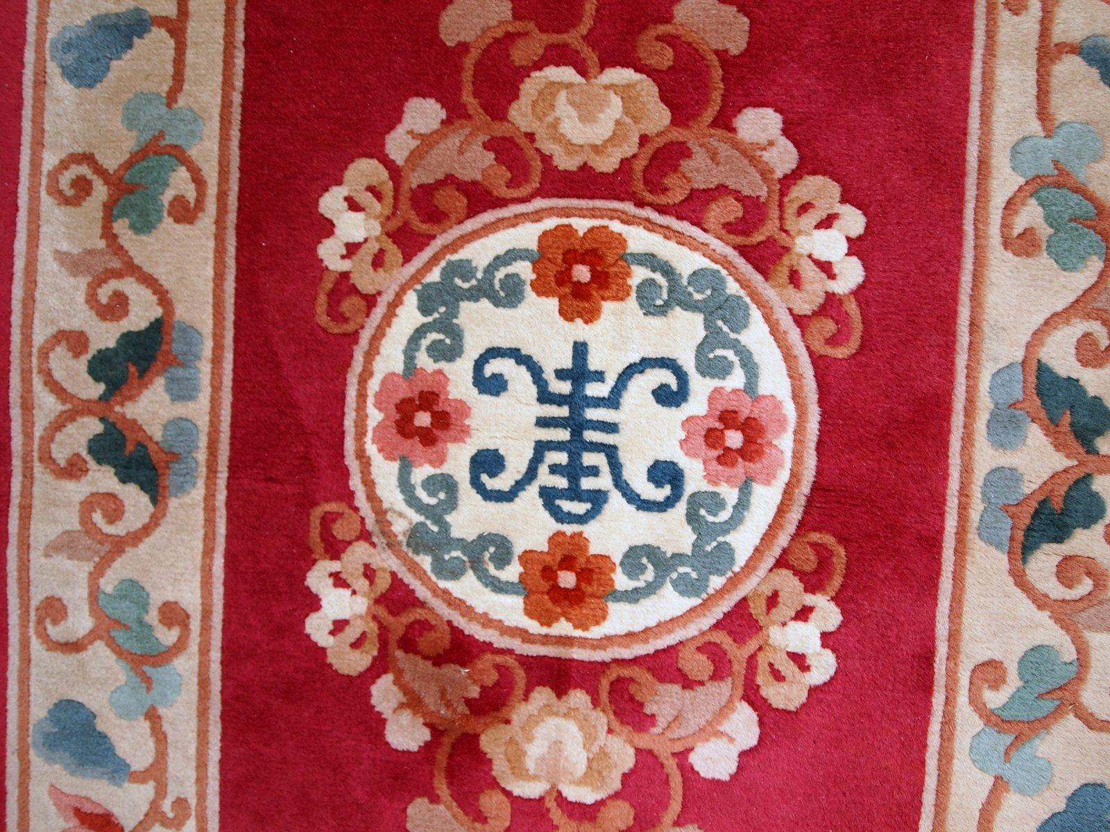 handgemachter chinesischer vintage art deco teppich. Black Bedroom Furniture Sets. Home Design Ideas