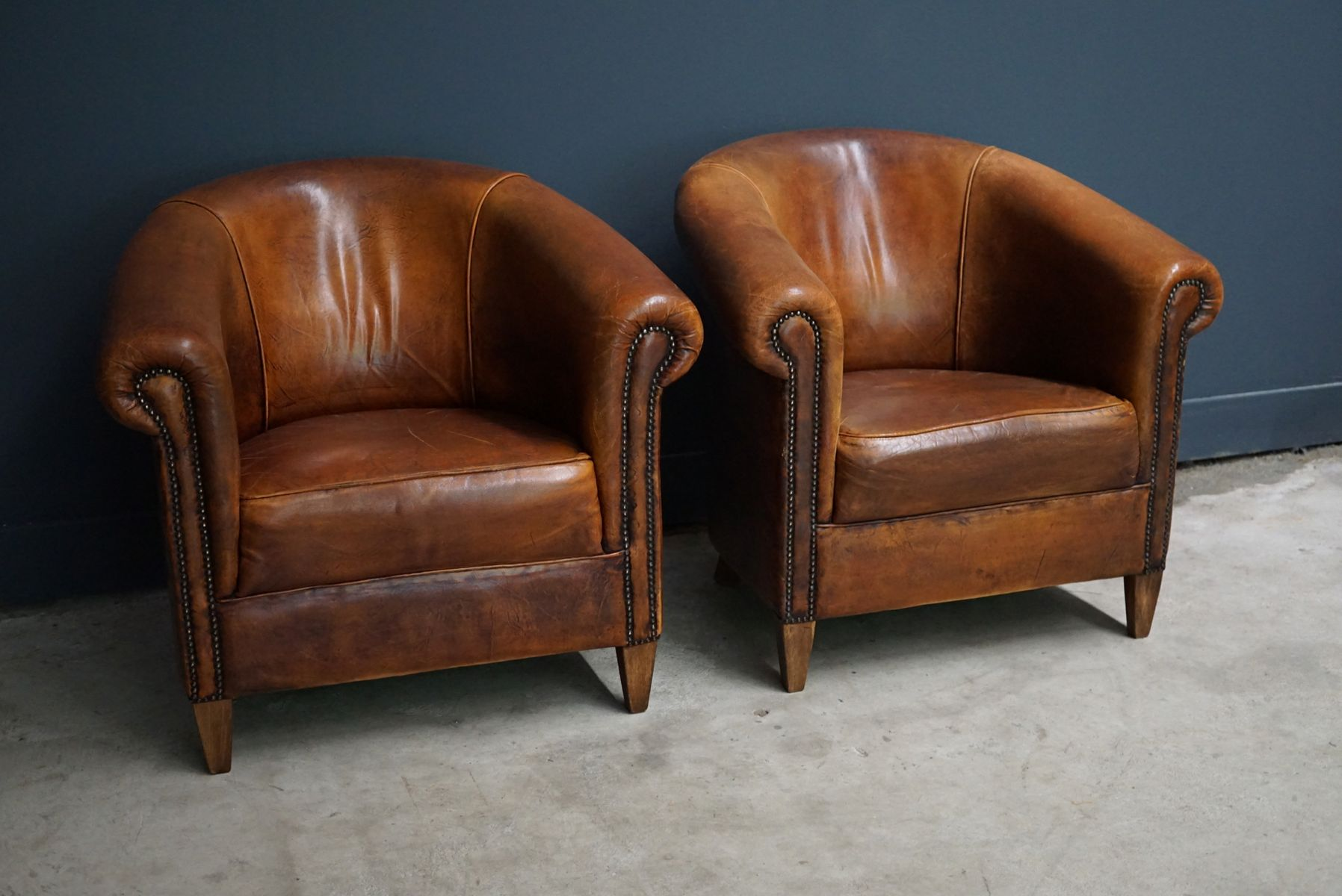 Vintage Dutch Cognac Leather Club Chairs Set of 2 for sale at Pamono