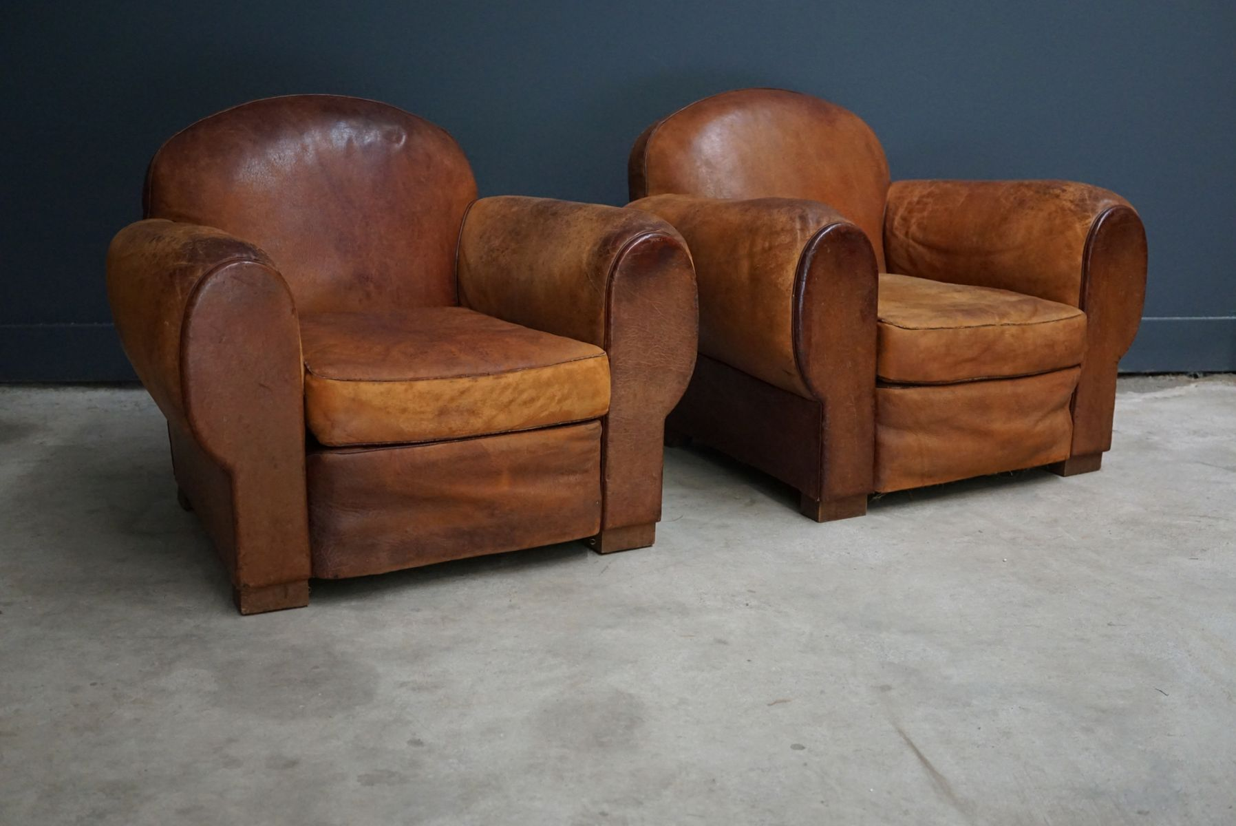 Vintage French Cognac Leather Club Chairs Set of 2 for sale at Pamono
