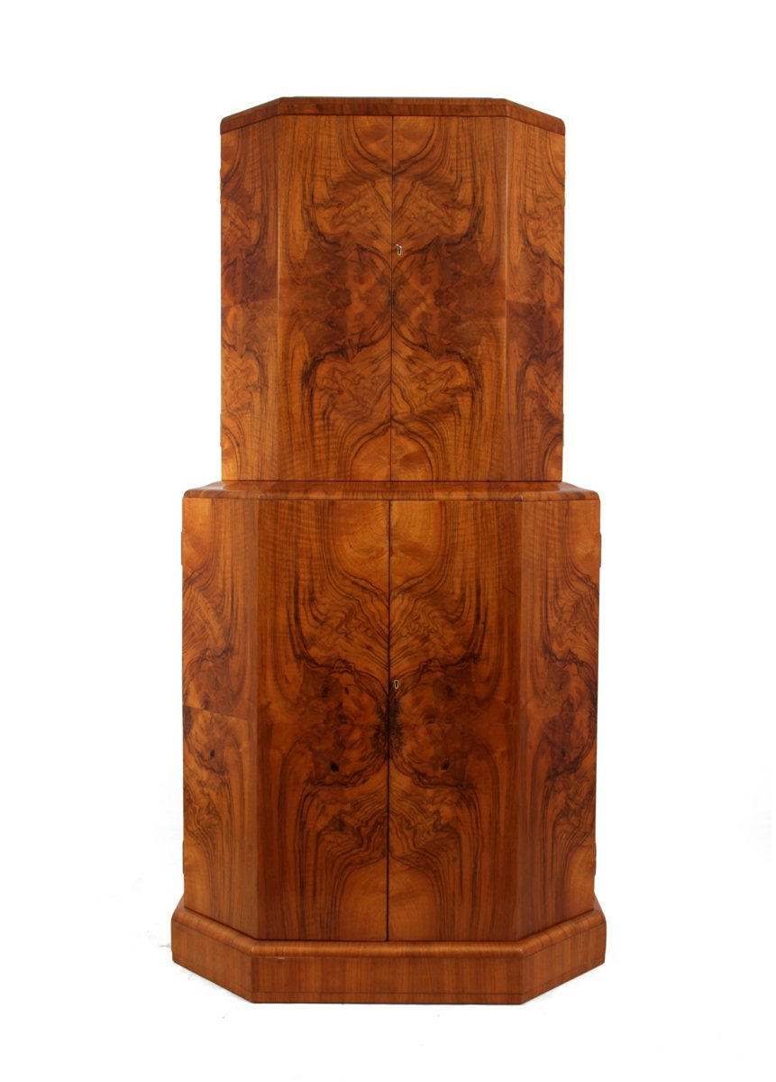 Art deco cocktail cabinet in walnut 1930s for sale at pamono for Meuble art deco 1930
