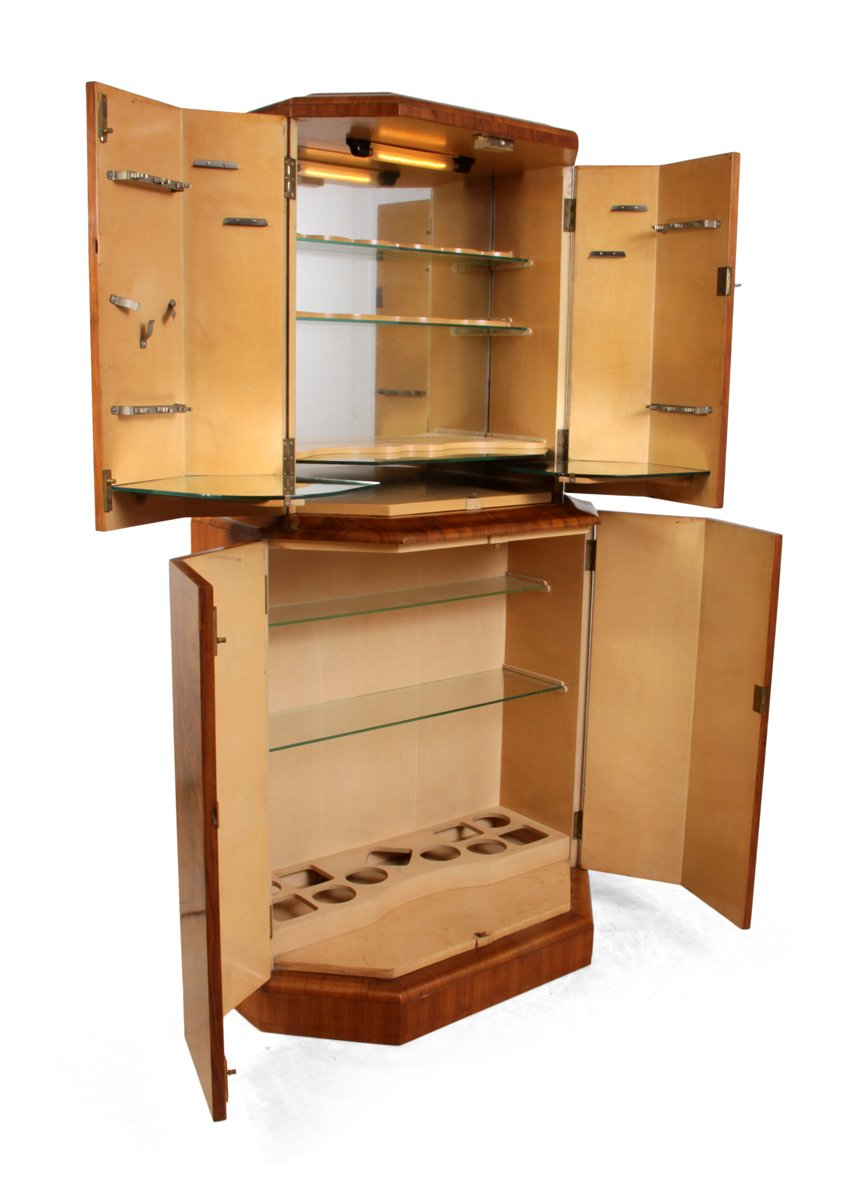 Art deco cocktail cabinet in walnut 1930s for sale at pamono for 1930s kitchen cabinets for sale
