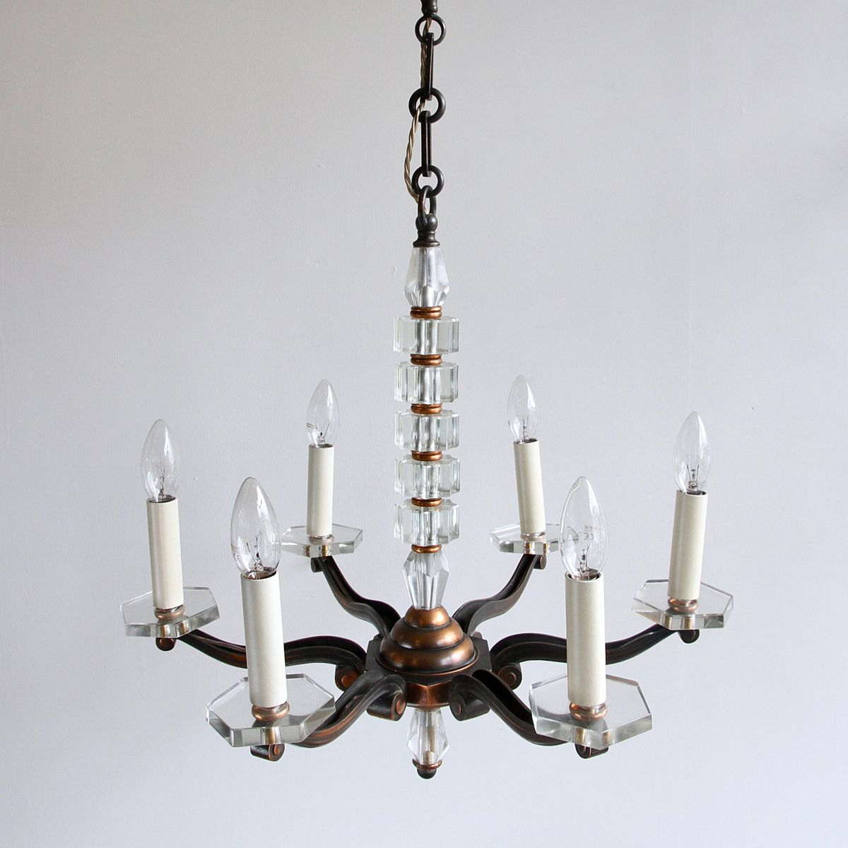 Copper and crystal chandelier 1930s for sale at pamono price per piece arubaitofo Images