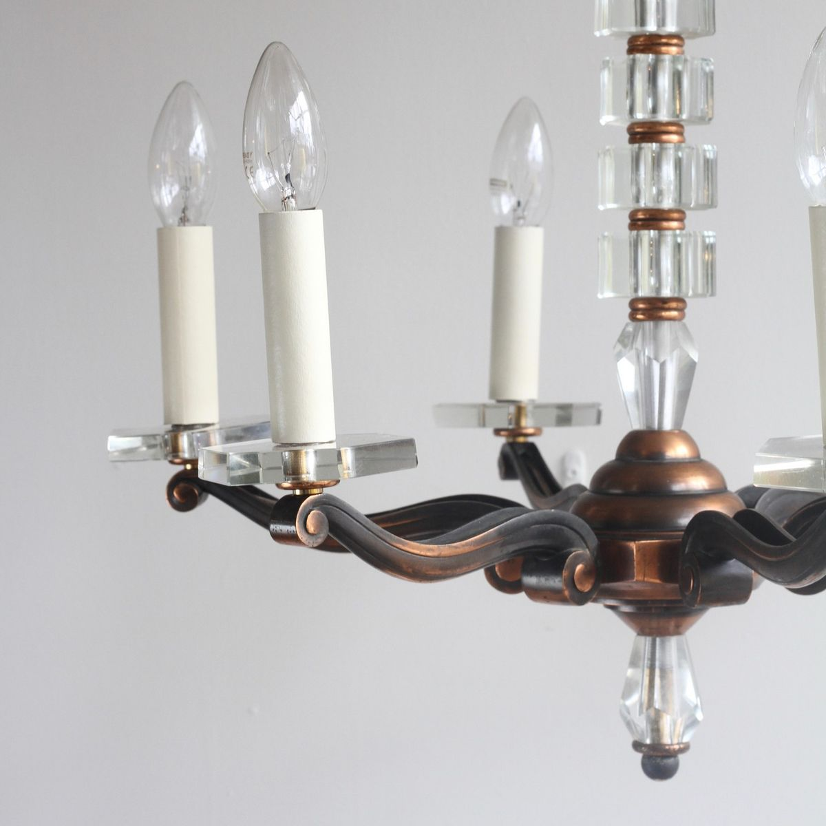 Copper And Crystal Chandelier 1930s For Sale At Pamono