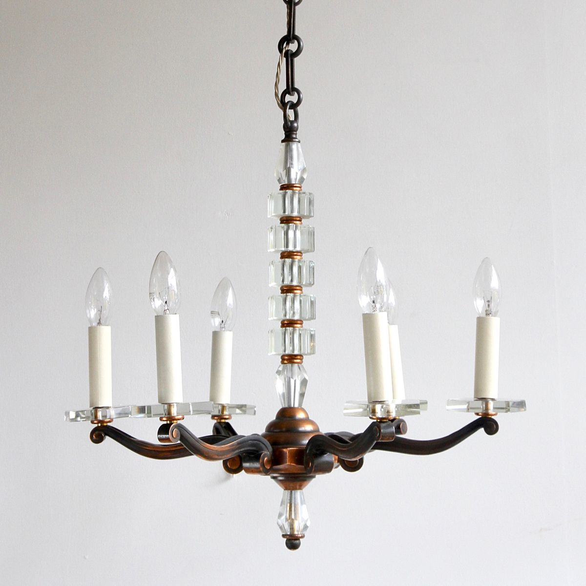 Copper and crystal chandelier 1930s for sale at pamono copper and crystal chandelier 1930s aloadofball Gallery