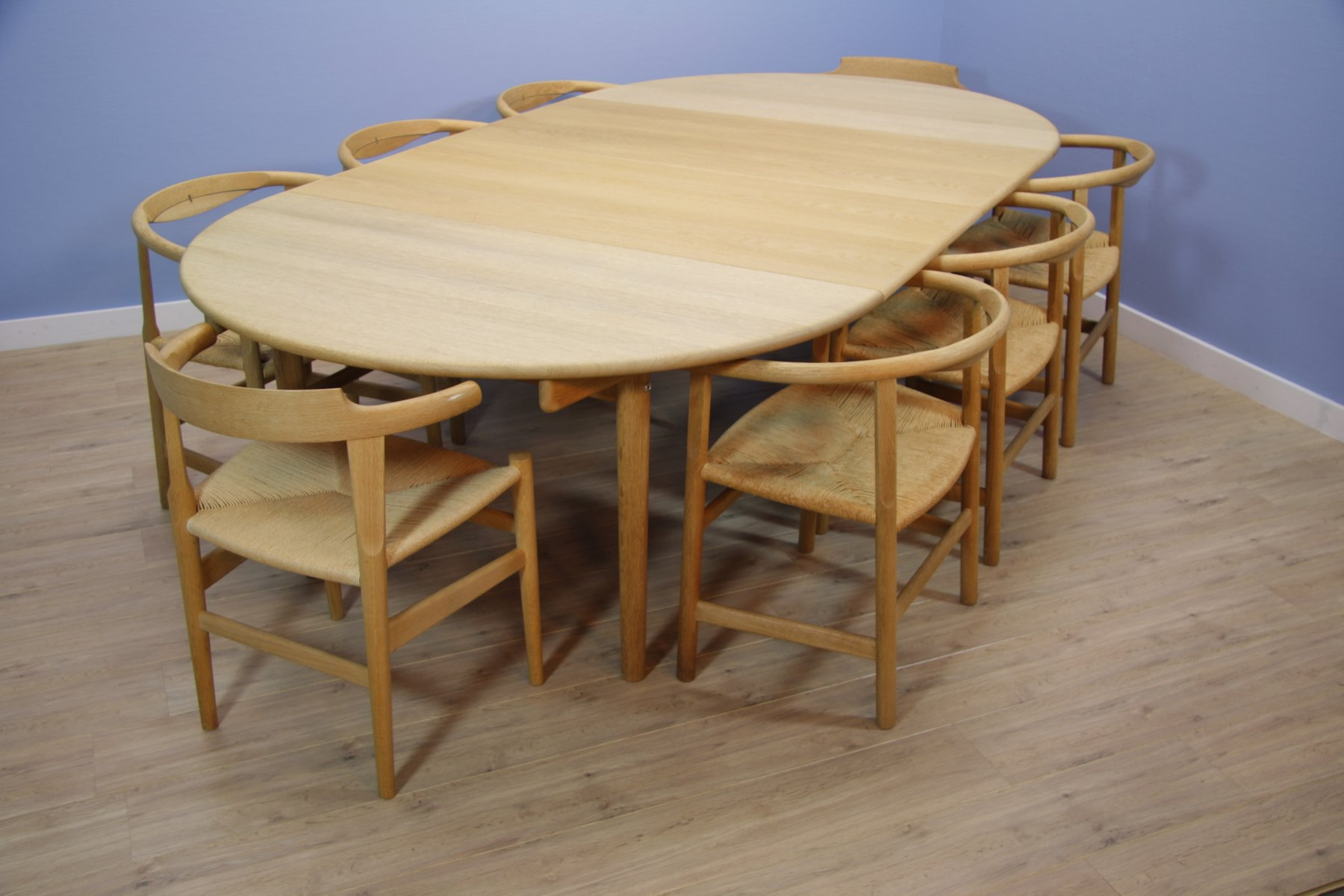 Mid Century CH 337 Dining Table with PP 68 & PP201 Chairs by Hans
