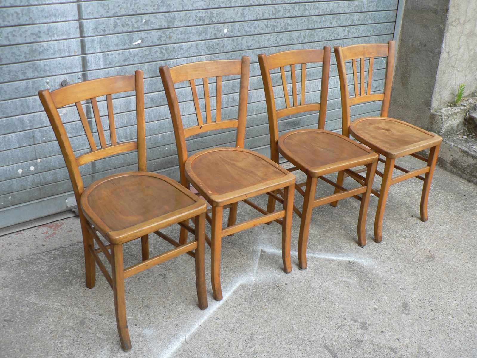 Vintage Wooden Bistro Chairs Set of 4 for sale at Pamono