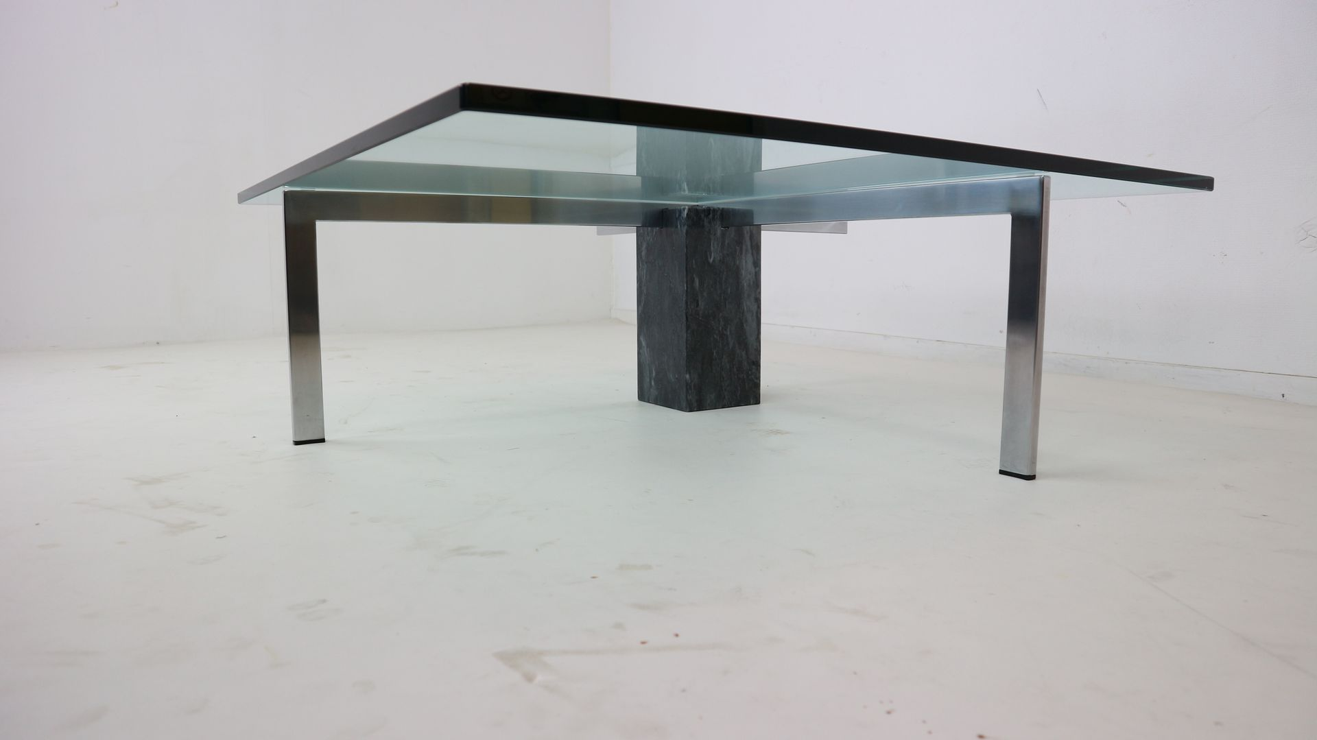 Modernist Italian Marble & Glass Coffee Table 1970s for sale at