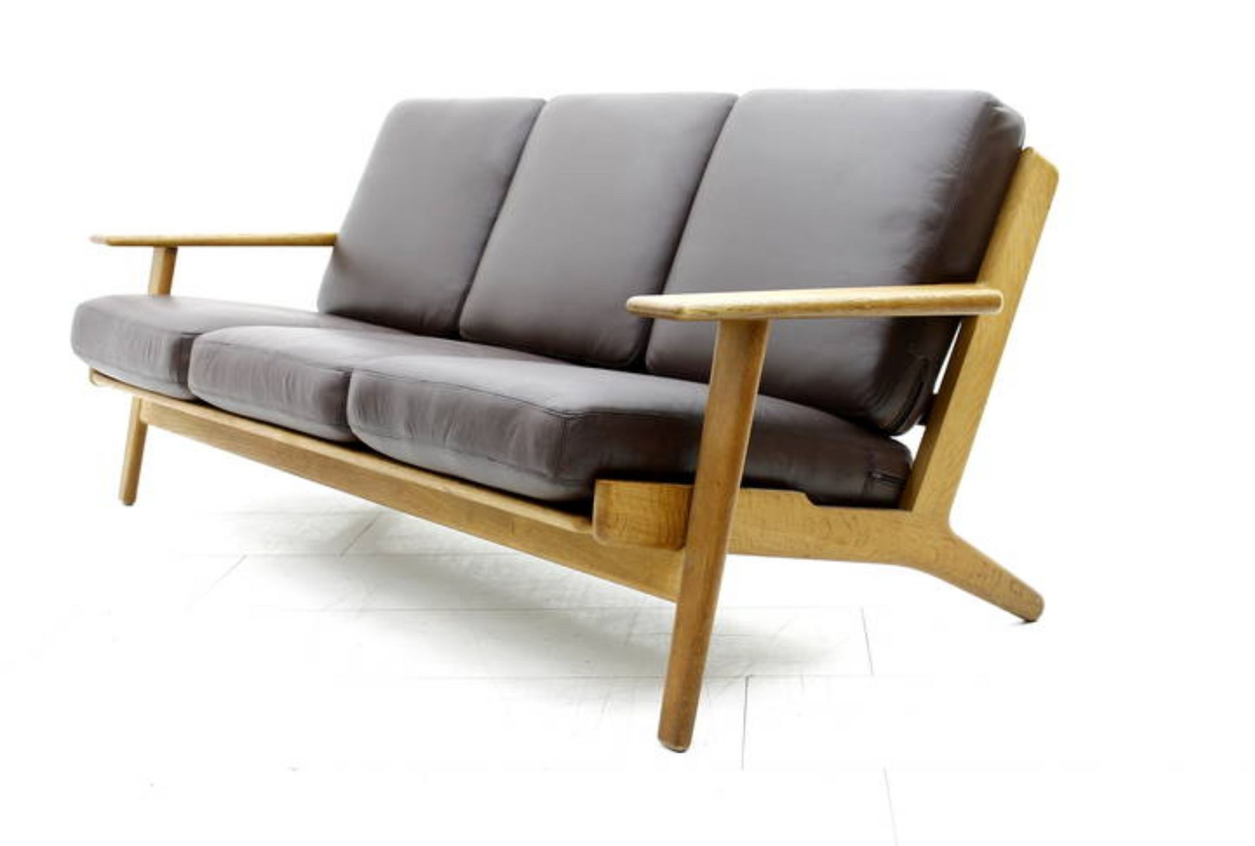 Danish Oak And Leather Sofa By Hans J Wegner For Getama 1960s For Sale At Pamono