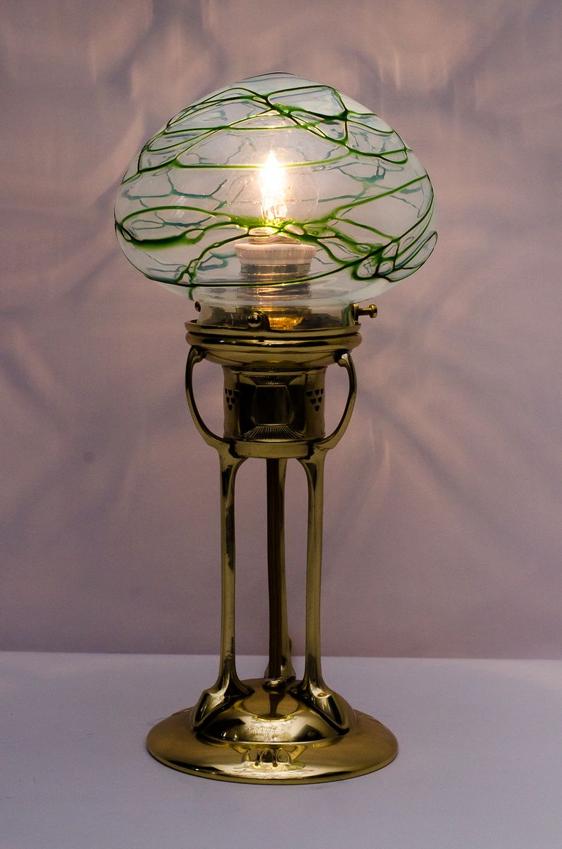 Table Lamp With Pallme König Glass Shade, 1900s 7. U20ac1,666.00