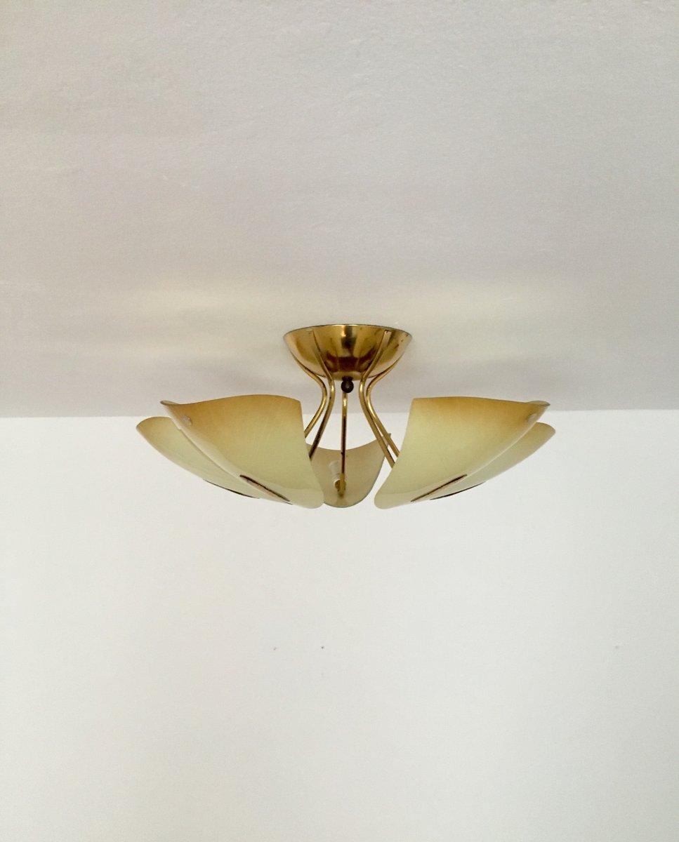 Messing glas deckenlampe von doria 1950er bei pamono kaufen for Deckenlampe messing