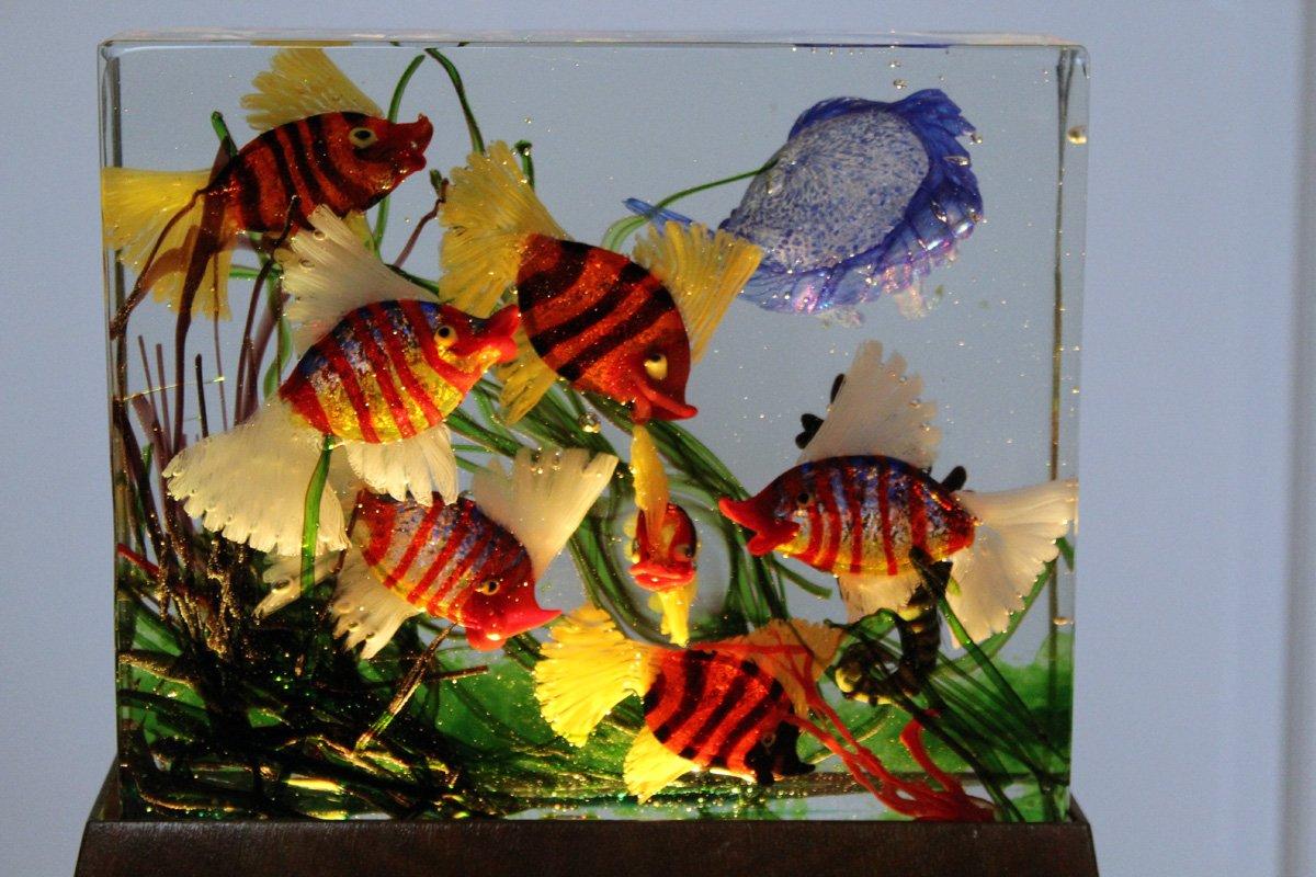 gro e vintage murano glas aquarium lampe von gino cenedese bei pamono kaufen. Black Bedroom Furniture Sets. Home Design Ideas