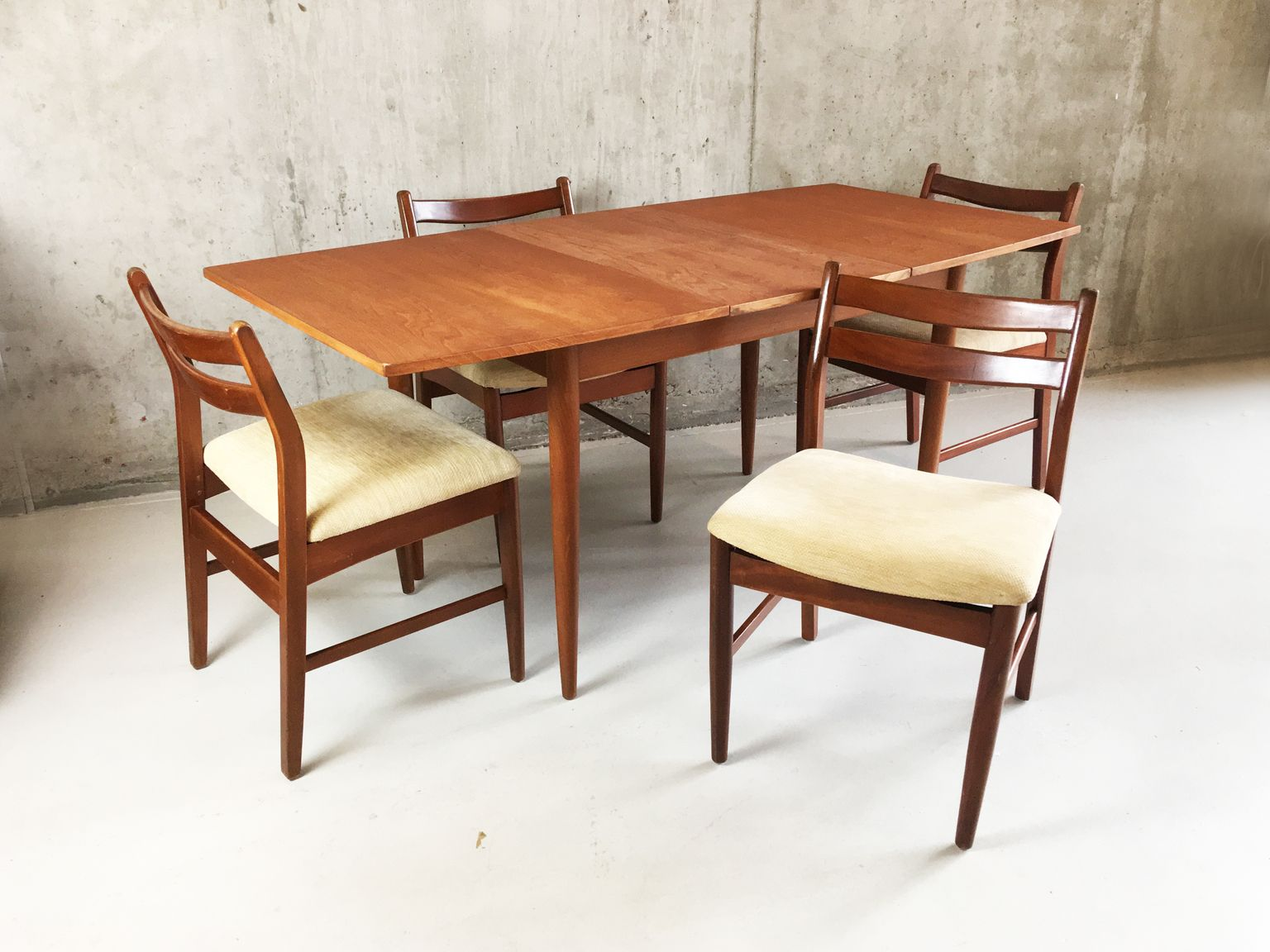 Dining set with extendable table and oatmeal fabric dining - Dining table and fabric chairs ...