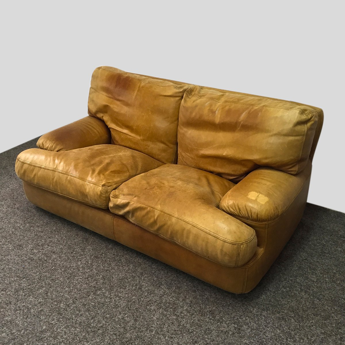 ledersofa mit federn gepolstert 1970er bei pamono kaufen. Black Bedroom Furniture Sets. Home Design Ideas