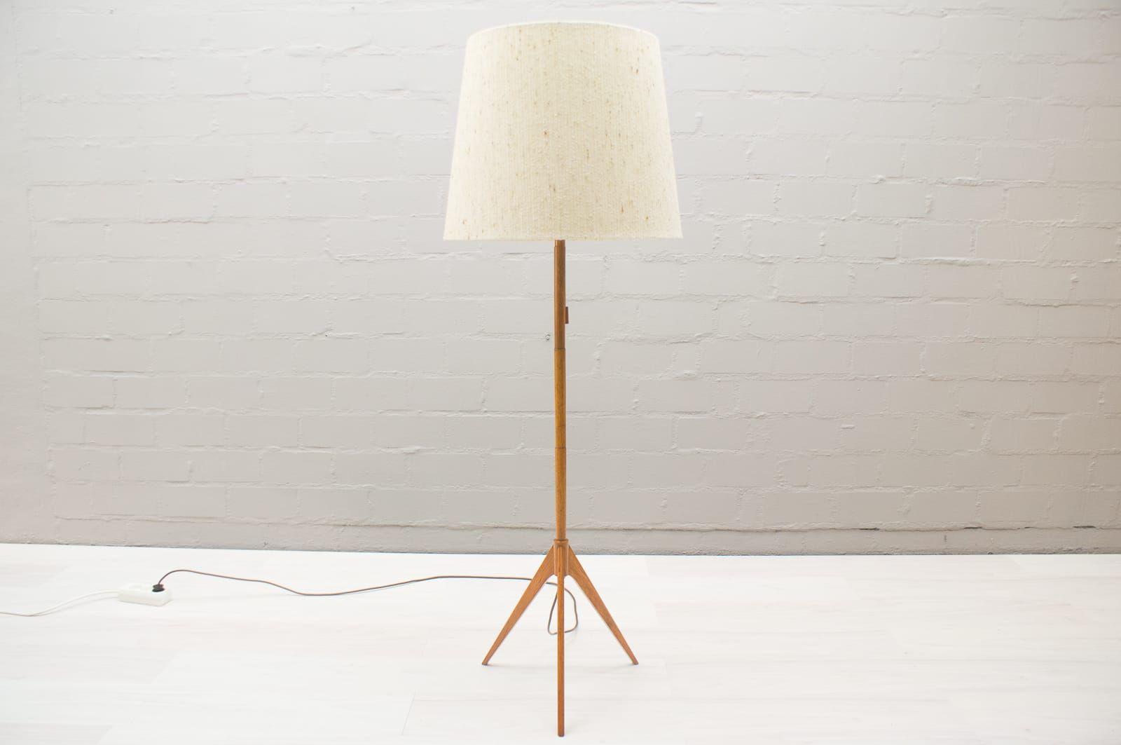 Scandinavian tripod teak floor lamp 1960s for sale at pamono scandinavian tripod teak floor lamp 1960s arubaitofo Images