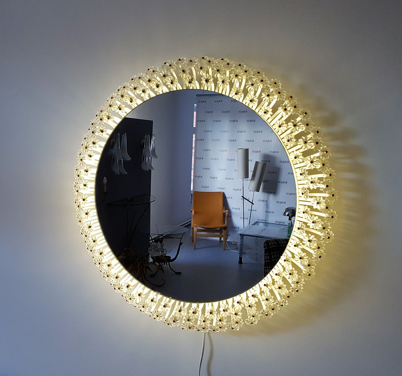 Round wall mirror by emil stejnar for rupert nikoll 1950s for Mirror 84 x 36