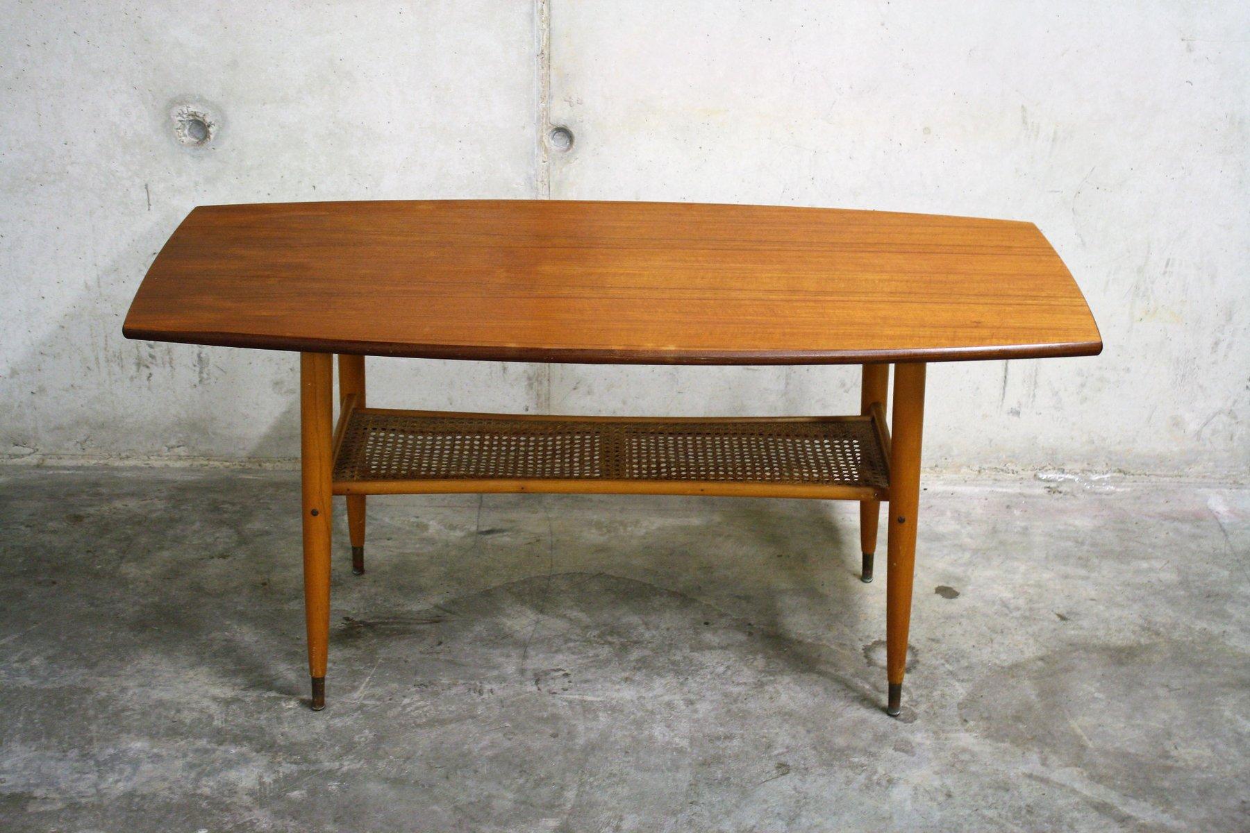 Scandinavian Teak Coffee Table With A Cane Shelf 1960s For Sale At Pamono