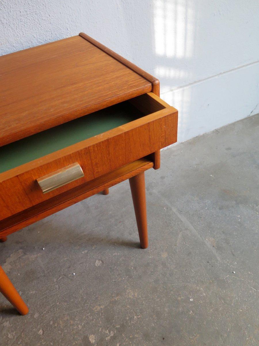 Vintage Danish Teak Bedside Table with Drawer
