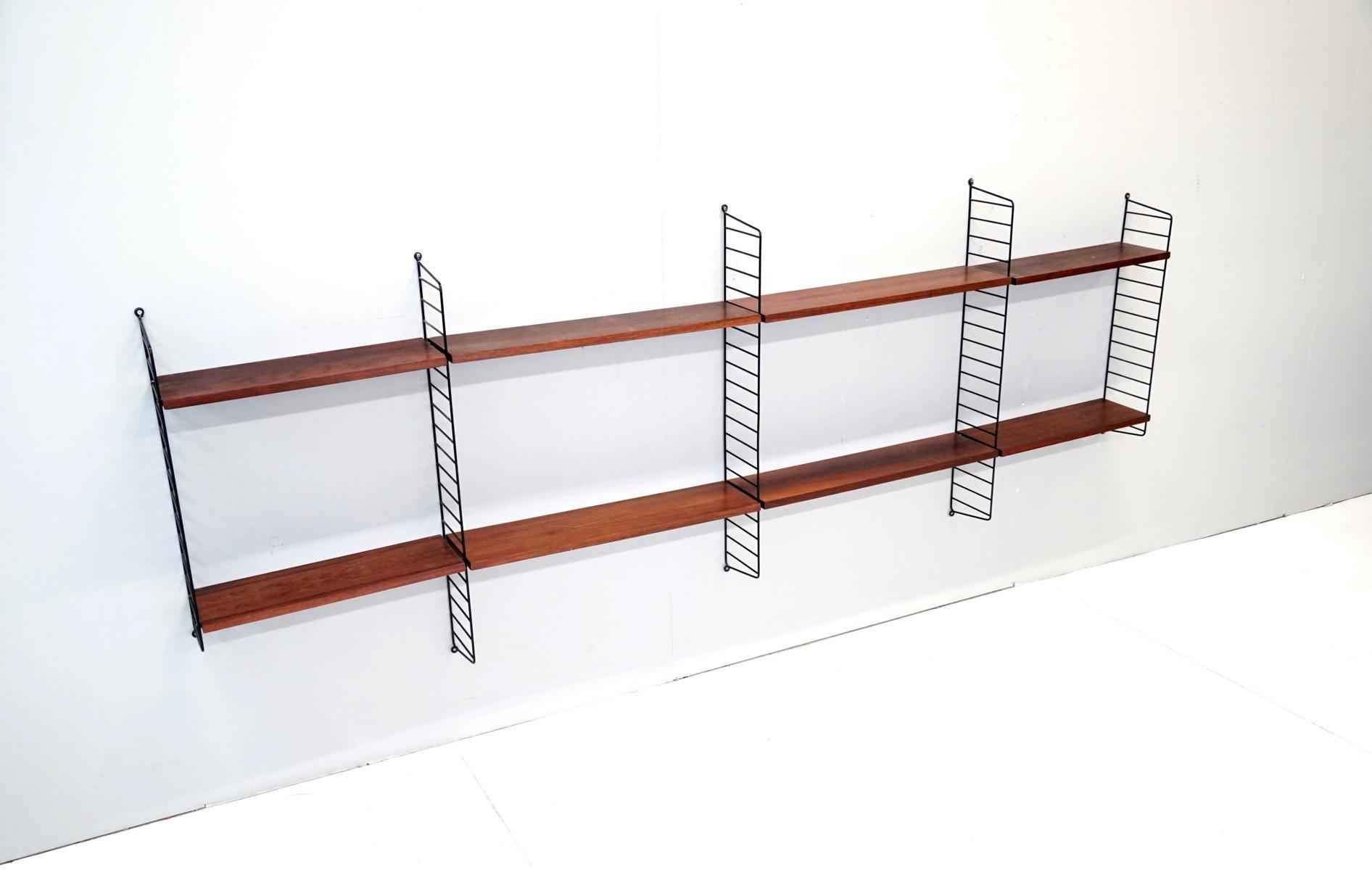 vintage string shelf rack system by nisse strinning for string 1960s for sale at pamono. Black Bedroom Furniture Sets. Home Design Ideas