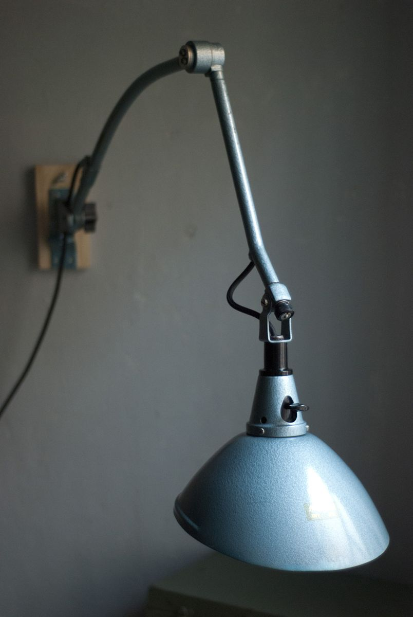 Vintage Blue Articulated Wall Light by Curt Fischer for Midgard/ Industriewerke Auma for sale at ...